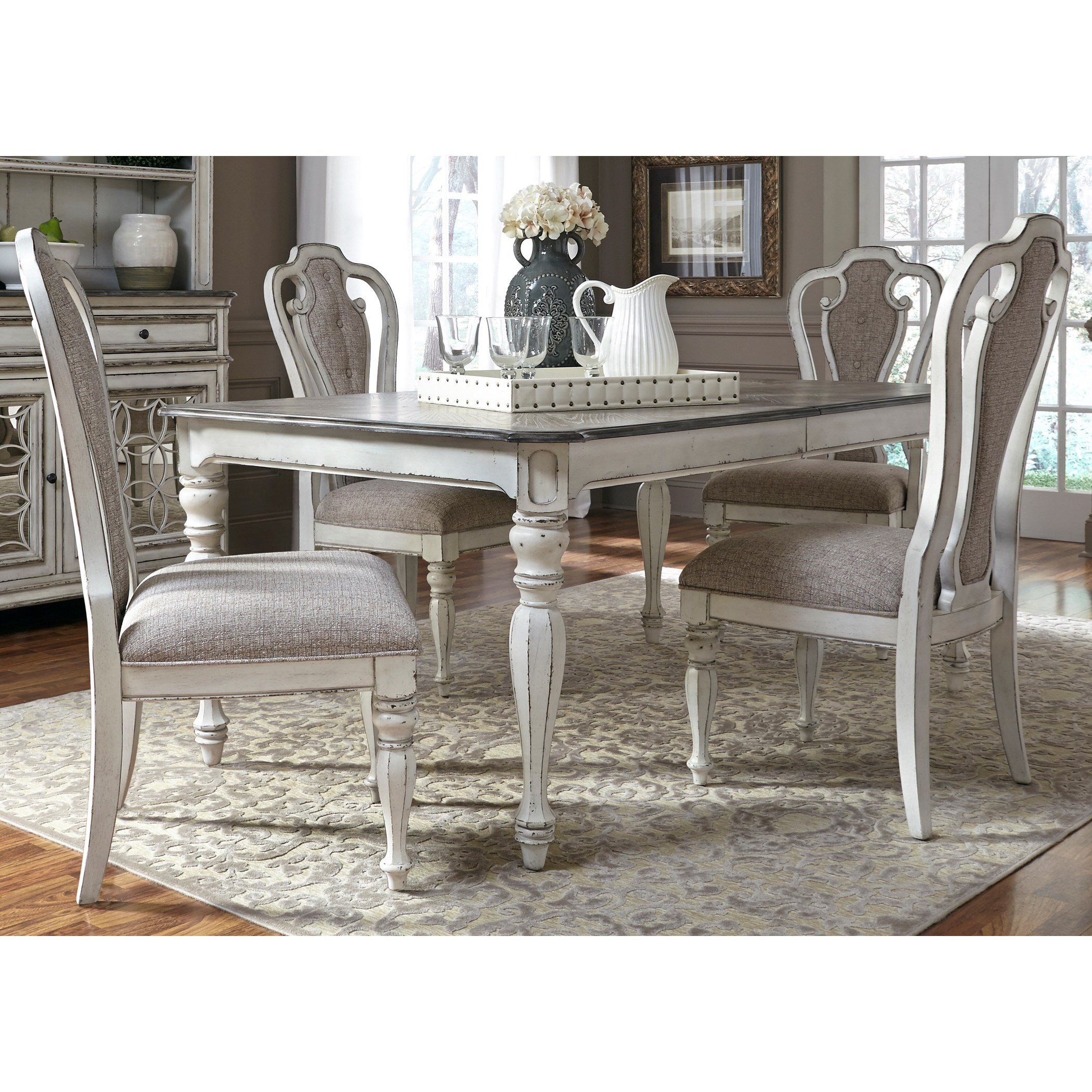 Black Dining Room Table And Chairs Magnolia Manor Dining 5 Piece Rectangular Table Set With Leaf By Liberty Furniture At Furniture Fair North Carolina