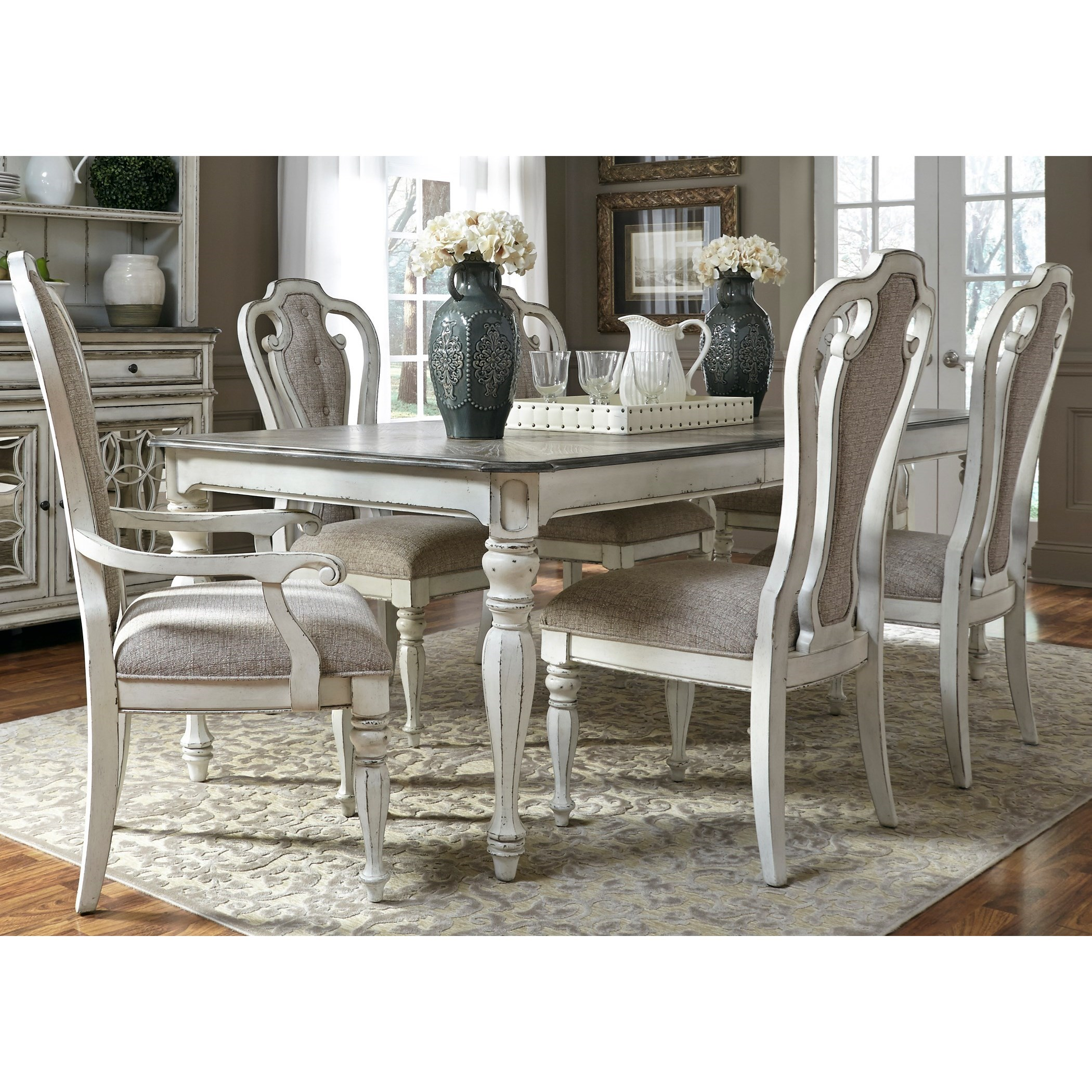 Dining Room Chair Sets Magnolia Manor Dining 7 Piece Rectangular Table Set With Leaf By Liberty Furniture At Great American Home Store