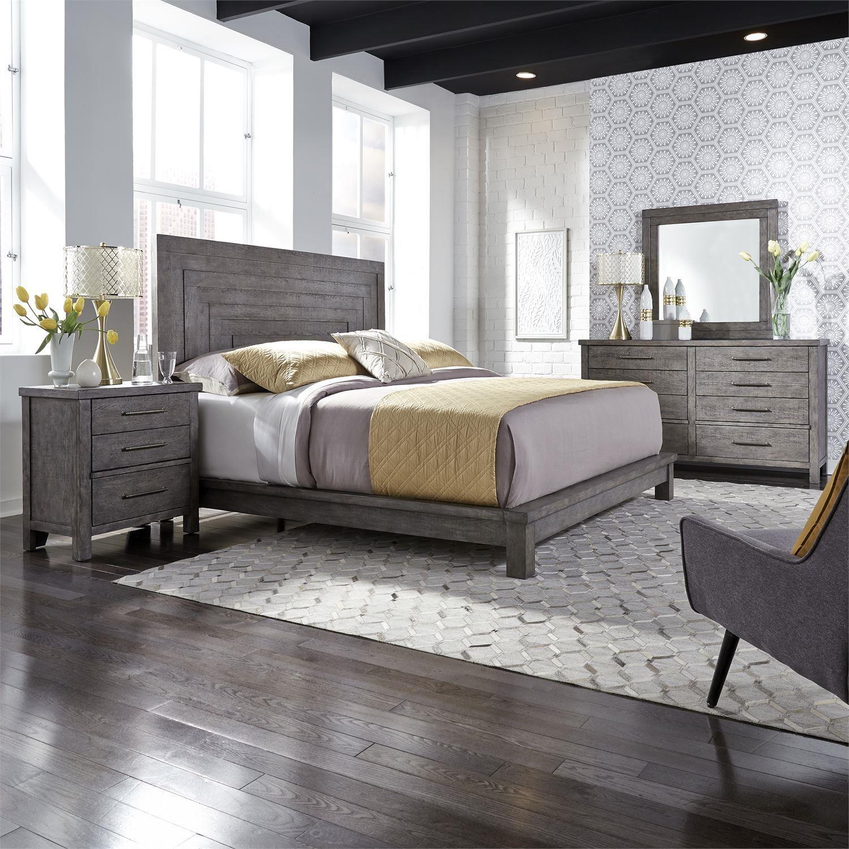 Liberty Furniture Modern Farmhouse Contemporary King Platform Bed Darvin Furniture Platform Beds Low Profile Beds