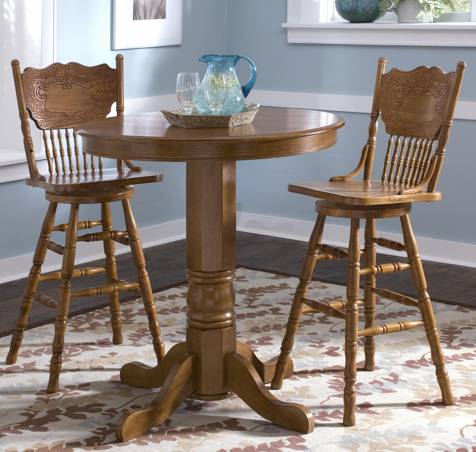 pub table and chairs 3 piece set 2 kids hair cutting liberty furniture nostalgia round dining with press back barstools