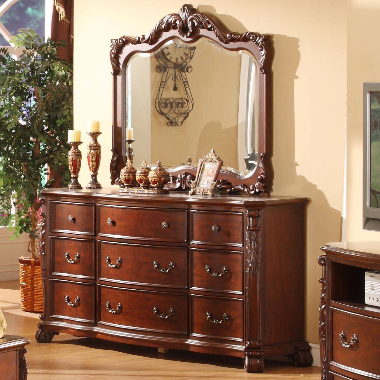 Lifestyle Frenchy Traditional 9 Drawer Dresser and Mirror with Acanthus Leaf Detailing  Royal