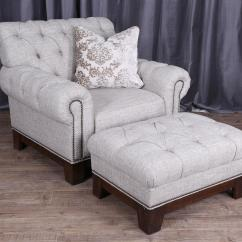 Tufted Chair And Ottoman Rolling Chairs Magnussen Home Caitlyn Transitional Button With Nailhead Trim By