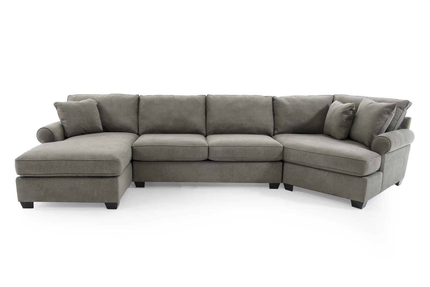 Max Home Jessica 9BA5 A CHLSAACCR GRAY Casual Three Piece Sectional Sofa With Cuddler Baers