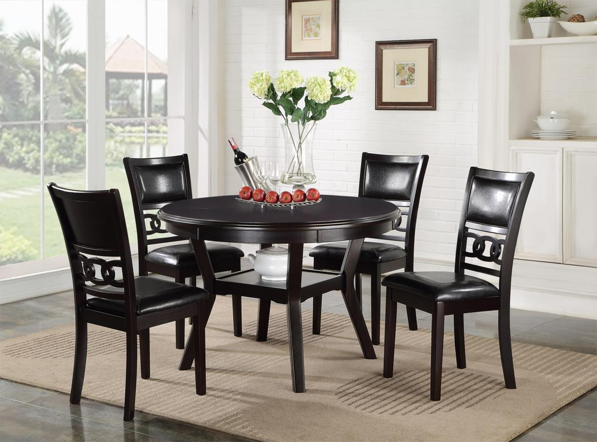 Dining Room Chairs Set Of 4 Gia Dining Table And Chair Set With 4 Chairs And Circle Motif By New Classic At Michael S Furniture Warehouse