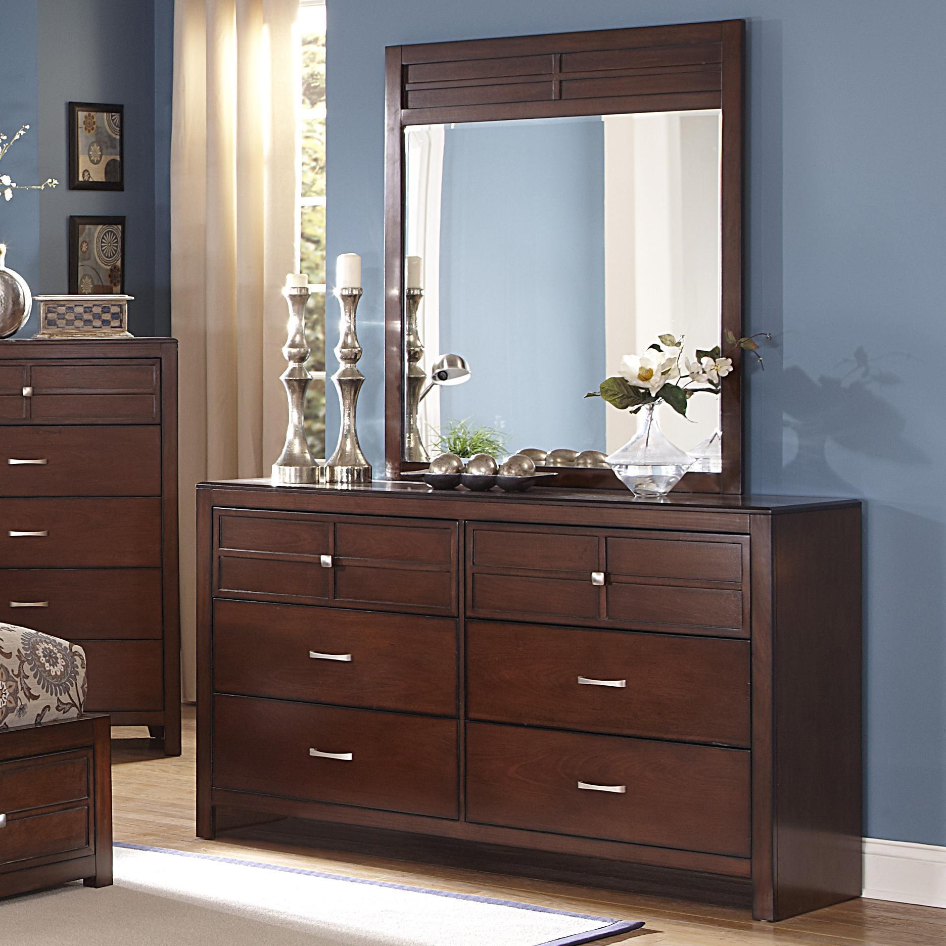 New Classic Kensington 6Drawer Dresser and Vertical Mirror Set  Dunk  Bright Furniture