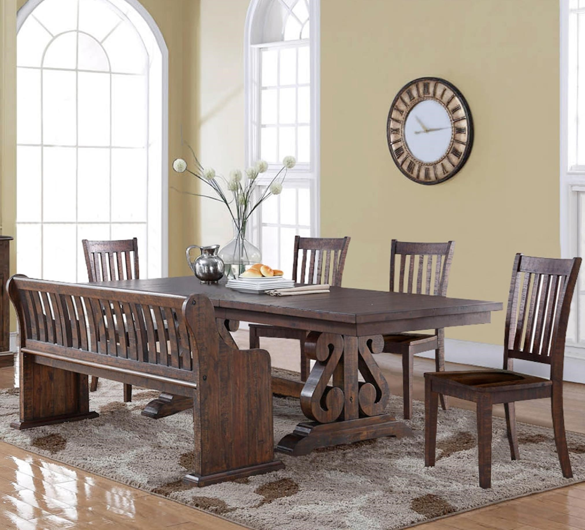 craftmaster chair and a half retro diner chairs new classic san juan six piece dining table set with bench   knight furniture ...