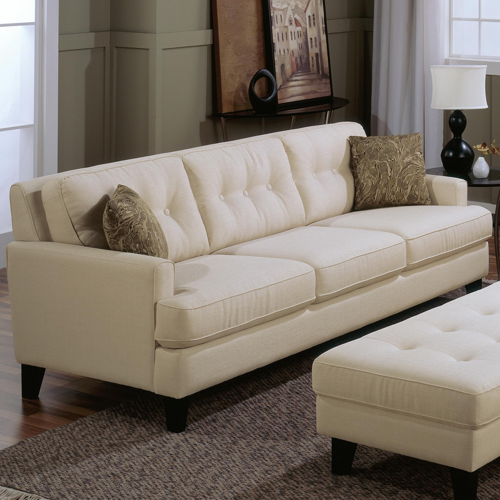 Palliser Barbara Transitional Stationary Sofa with Tapered Wood Legs  Belfort Furniture  Sofa