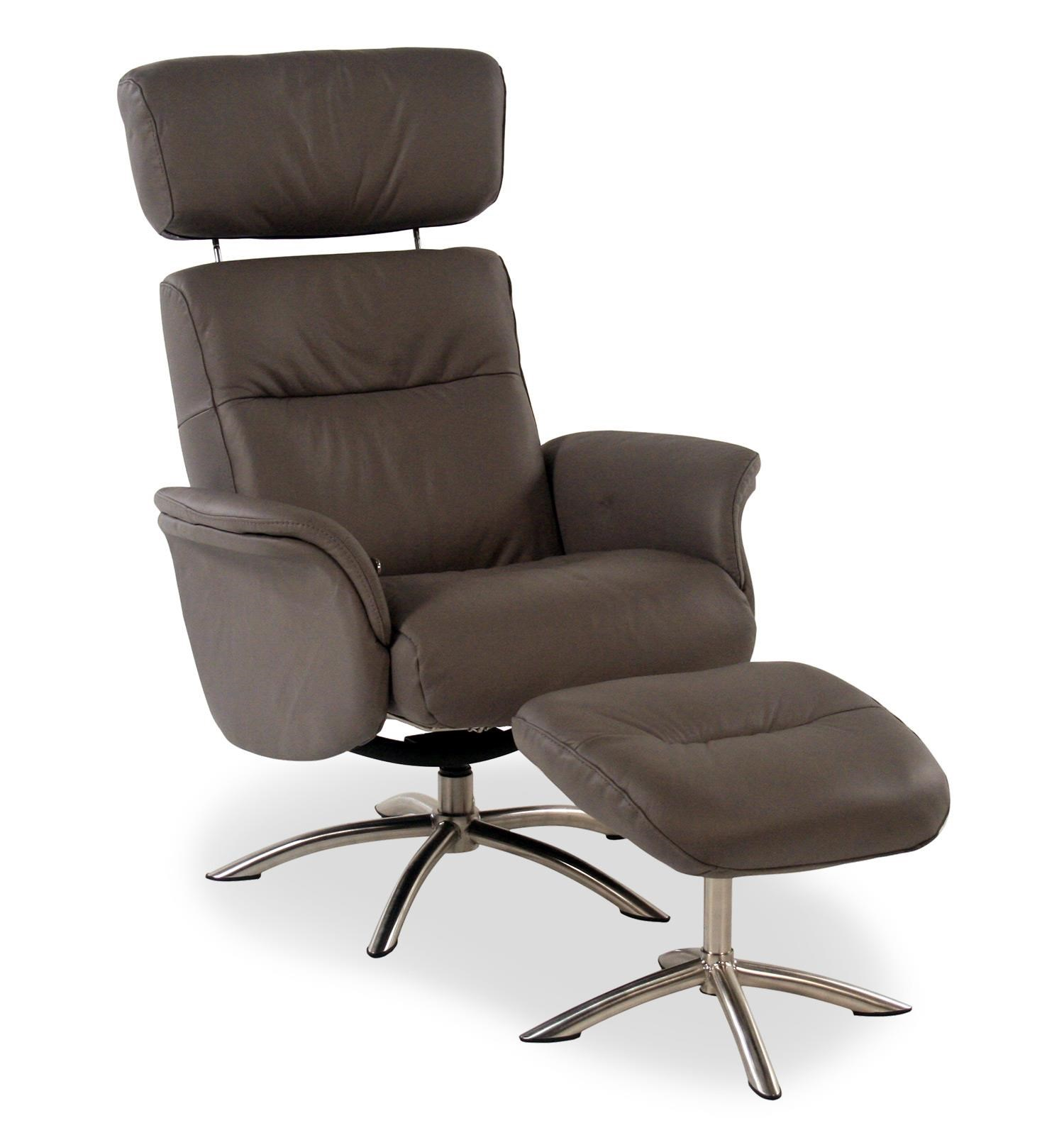 recliner vs chair with ottoman kitchen table caster chairs quantum contemporary leather reclining w swivel base and