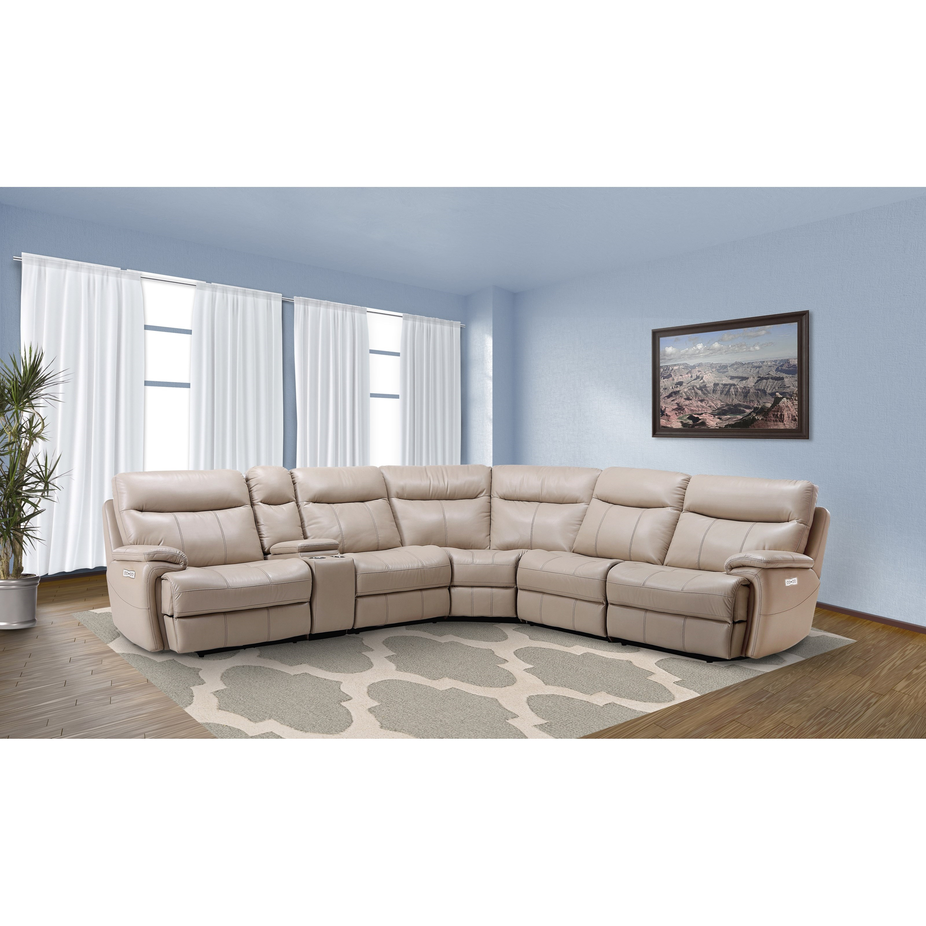 Arlo Casual Reclining Sectional Sofa with Storage Console  Rotmans  Reclining Sectional Sofas