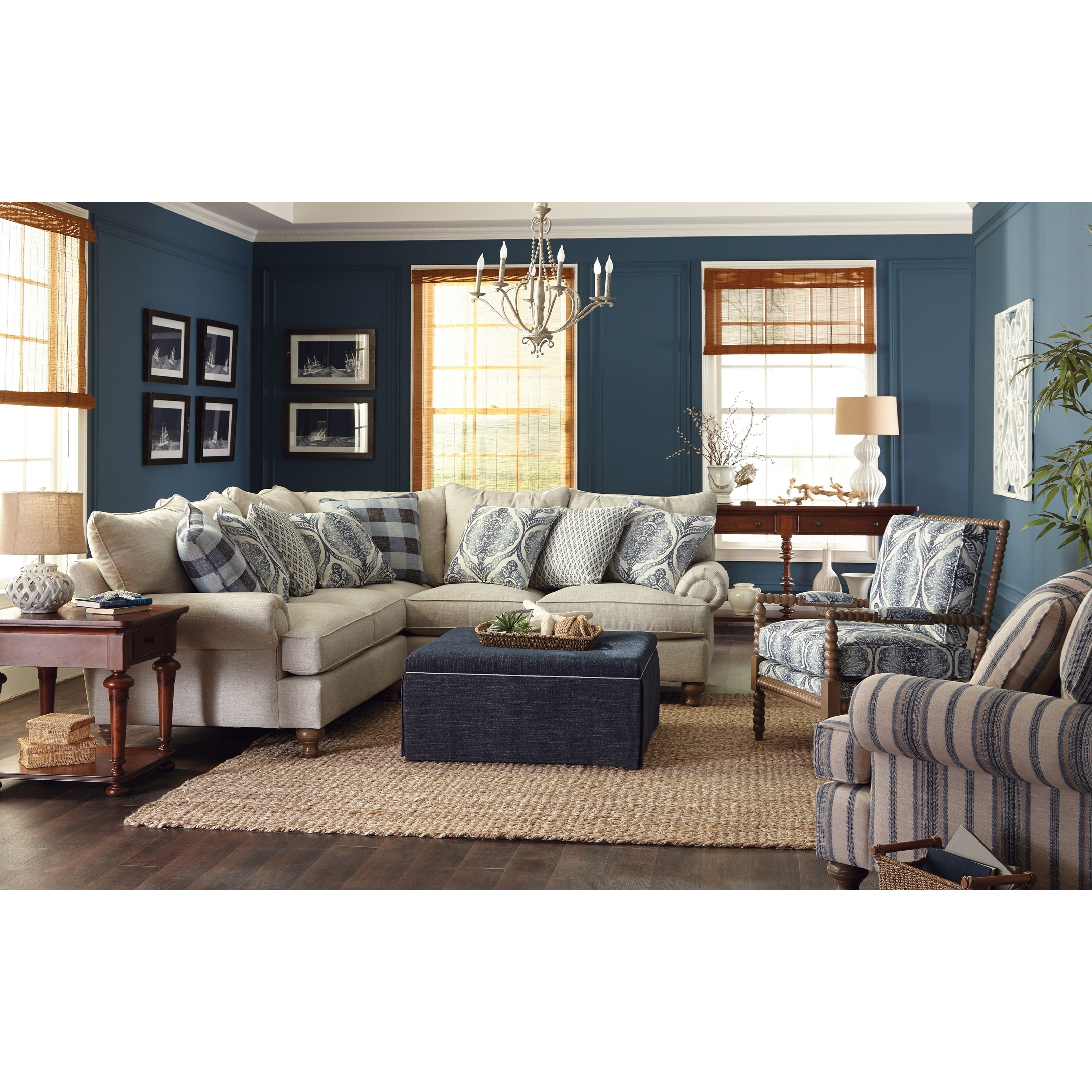 Paula Deen by Craftmaster P711700 2Piece Sectional Sofa with Rolled Arms and Turned Feet