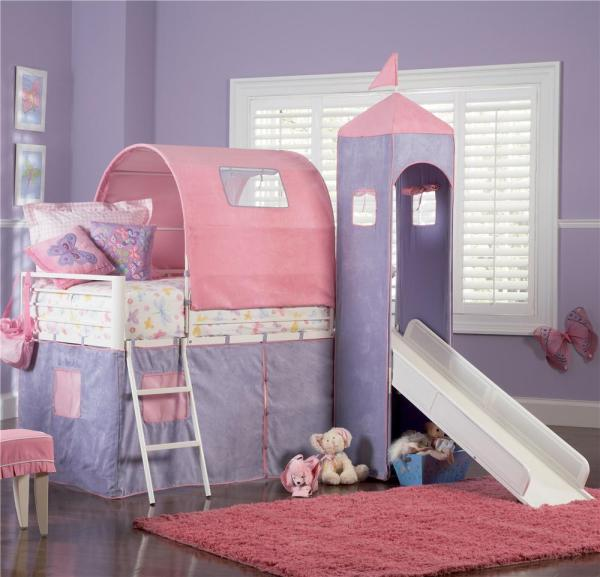 Powell Princess Castle Twin Bunk Bed With Tent And Slide Wayside Furniture Loft Beds