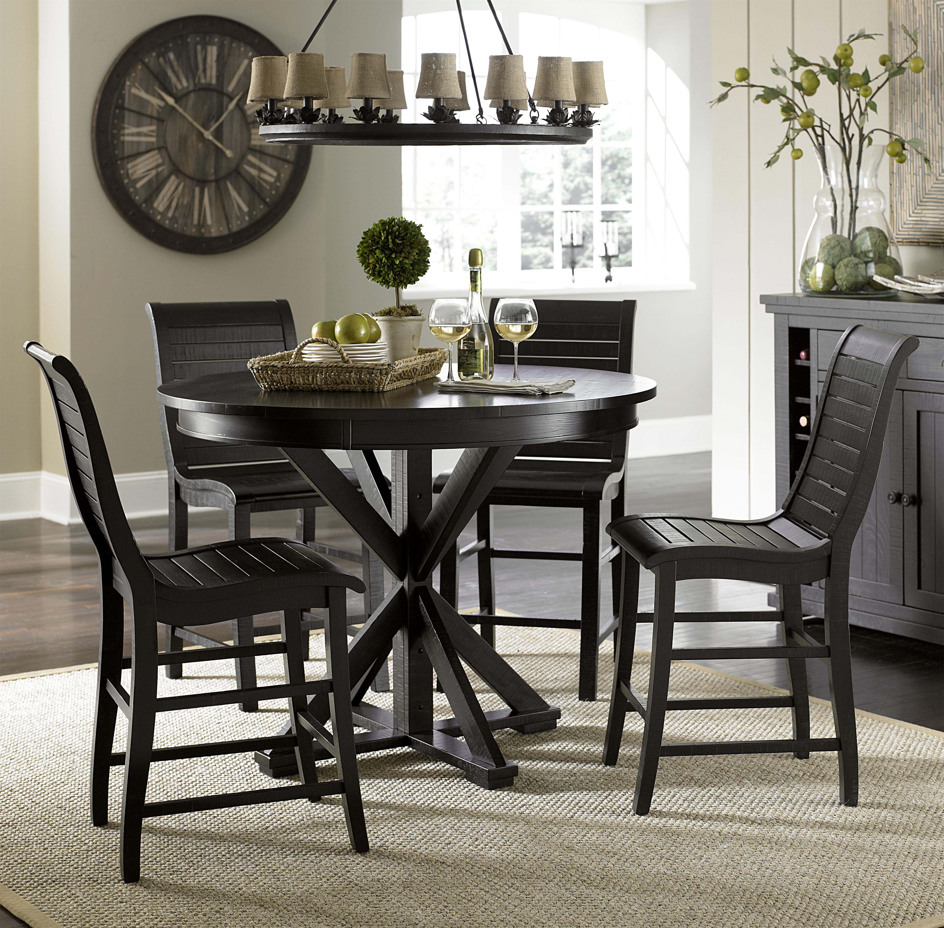 high table and chairs for kitchen animal print progressive furniture willow dining 5 piece round counter height set