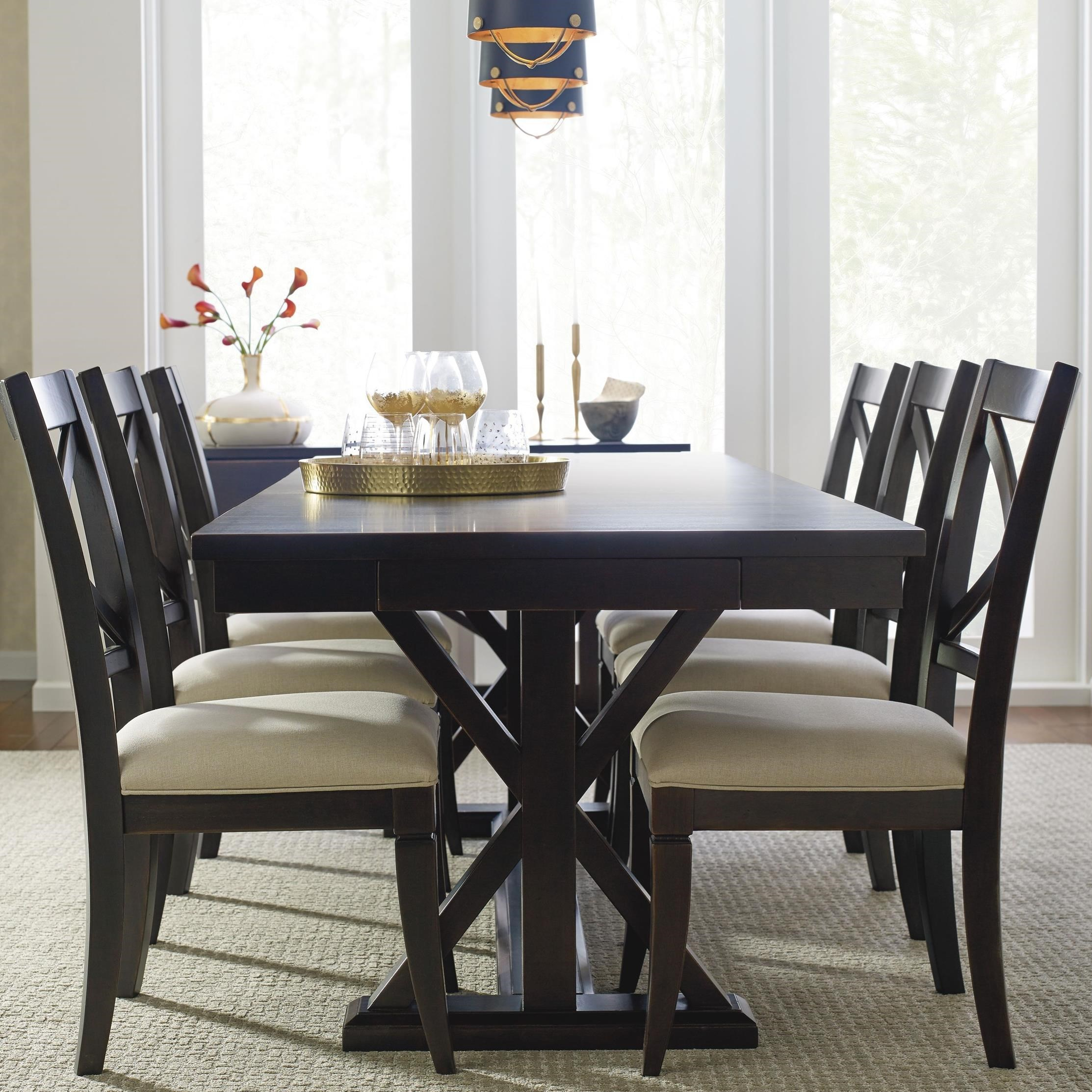 Rachael Ray Home By Legacy Classic Everyday Dining Trestle Dining Table With Leaf And 6 Upholstered Side Chairs Furniture Barn Dining 7 Or More Piece Sets