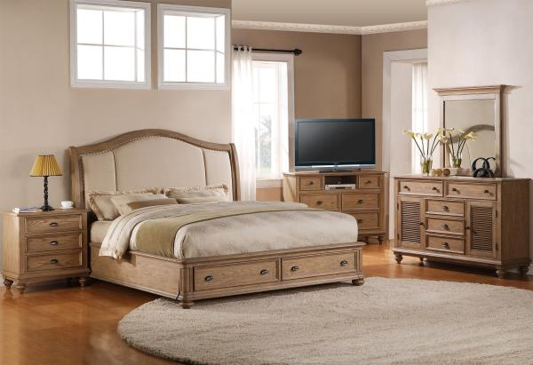 Coventry King Upholstered Headboard Bed With Storage Footboard Riverside Furniture Wolf