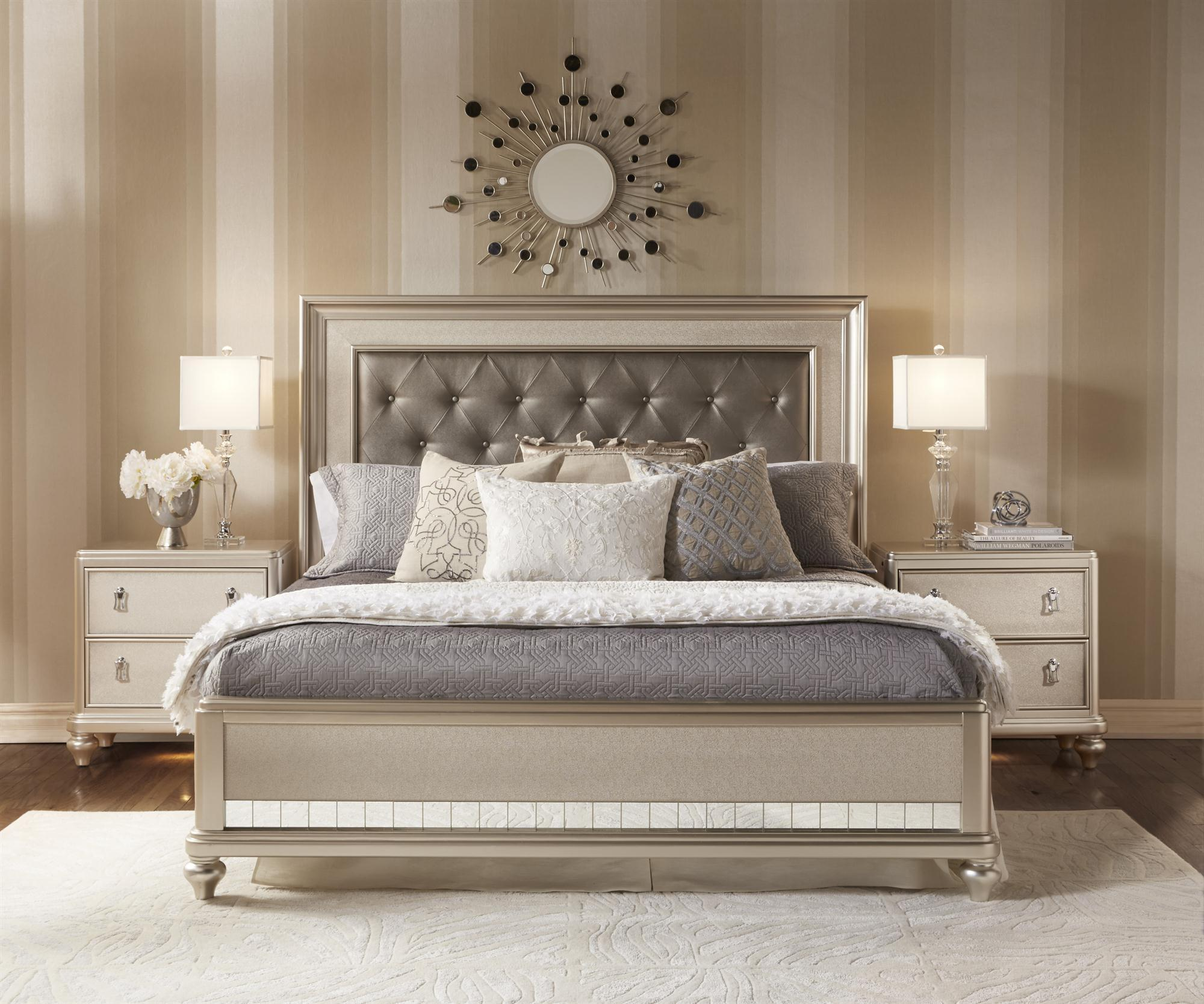 Samuel Lawrence Diva King Panel Bed W Tufted Headboard