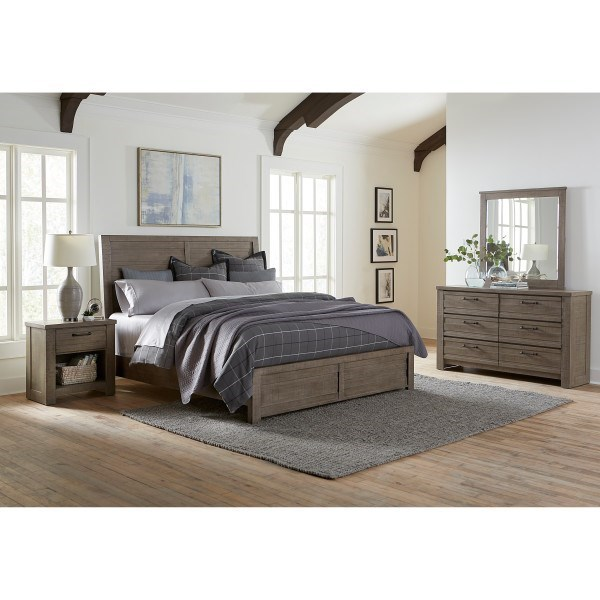 Samuel Lawrence Ruff Hewn Gray King Bedroom Group  Dream