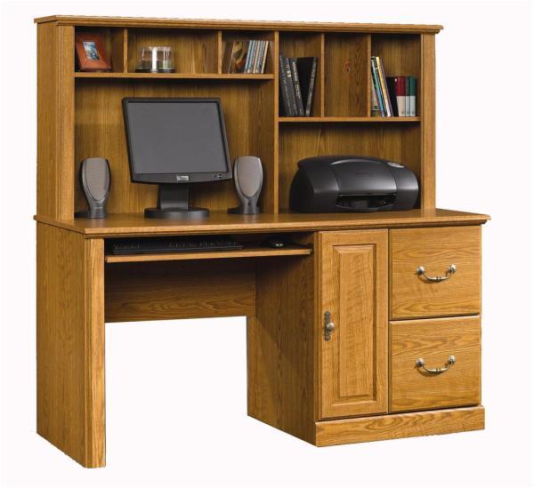Sauder Orchard Hills 401354 Single Pedestal Desk & Hutch Becker Furniture World