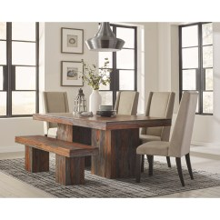 Rustic Wood Kitchen Table And Chairs Bedroom Chair Hull Scott Living Binghamton Dining Set With Bench Ruby