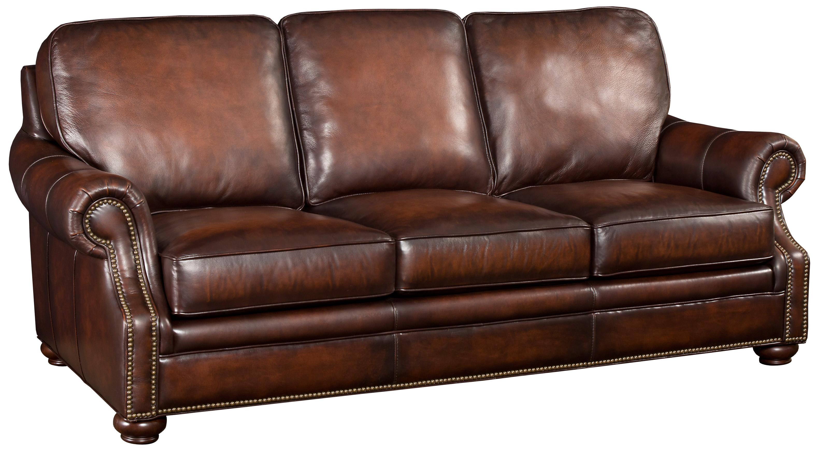 Hooker Furniture SS185 Brown Leather Sofa with Wood