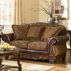 Ashley Leather Sofas And Loveseats Sofa Cleaning Products Signature Design By Fresco Durablend Antique Traditional Loveseat