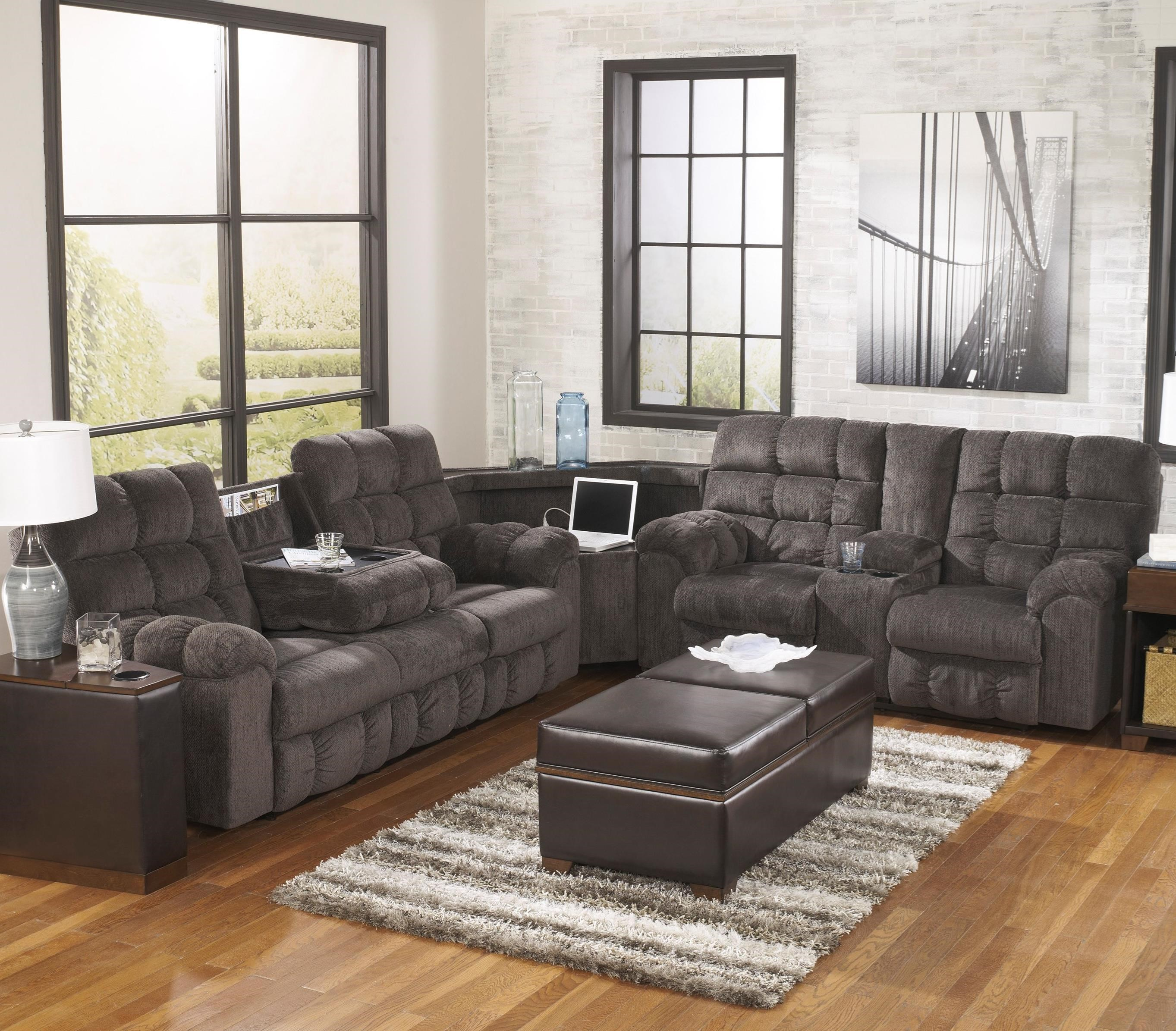 acieona slate reclining sectional with right side loveseat