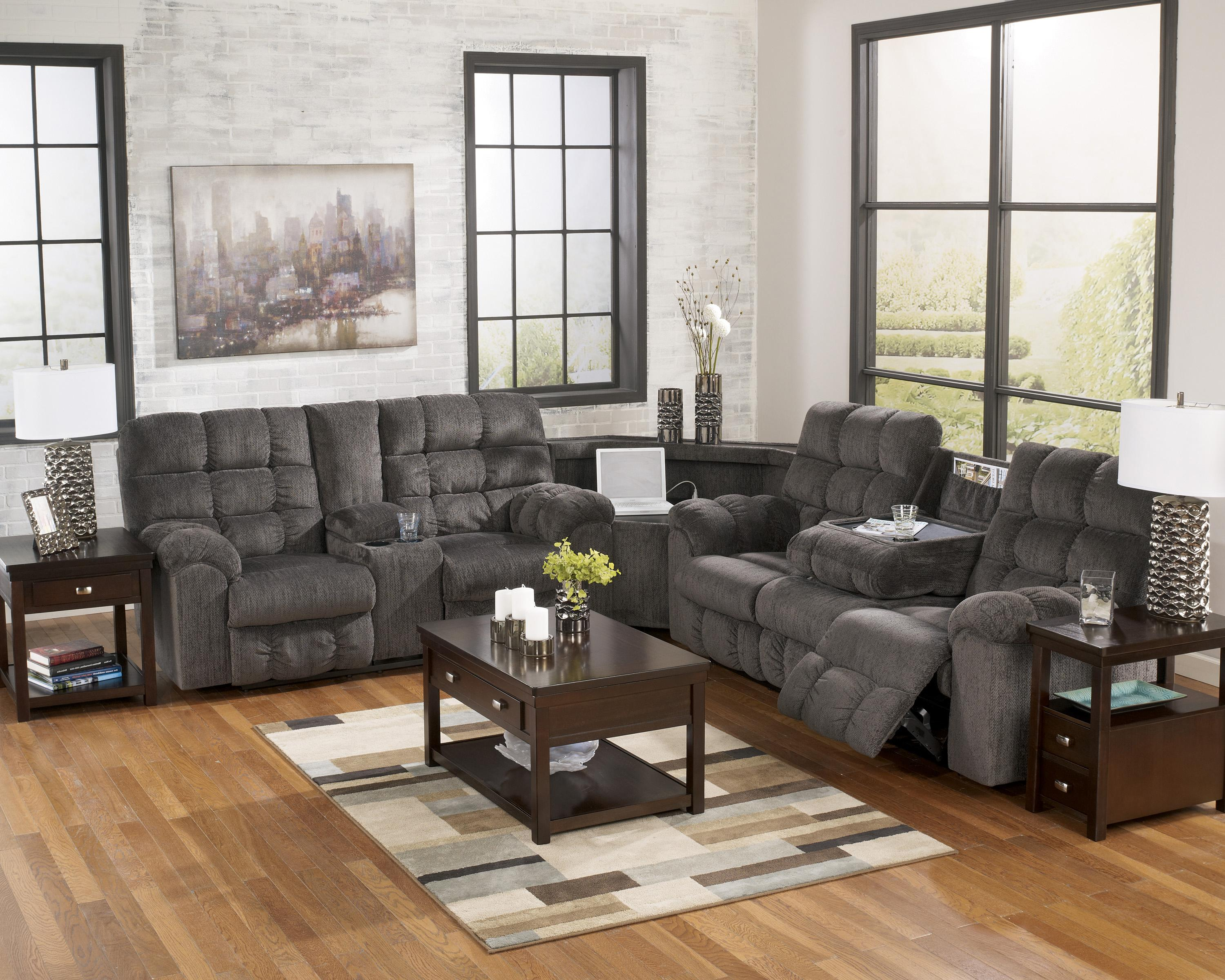 acieona slate reclining sectional with left side loveseat