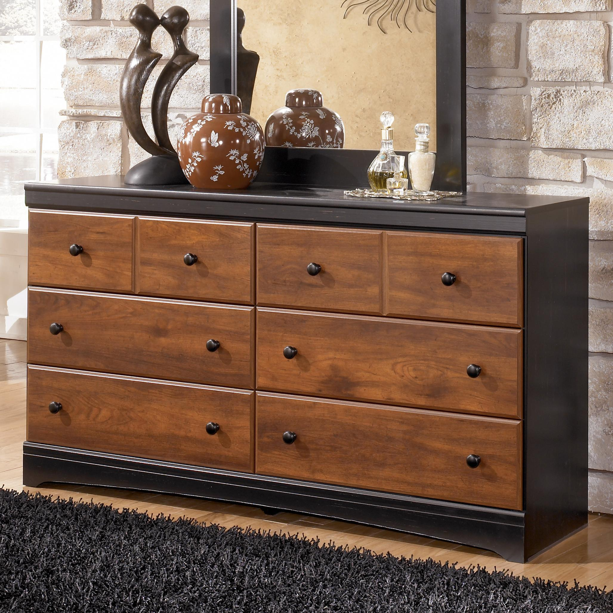 Ashley Signature Design Aimwell B13631 TwoTone Finish Dresser with 6 Drawers  Dunk  Bright