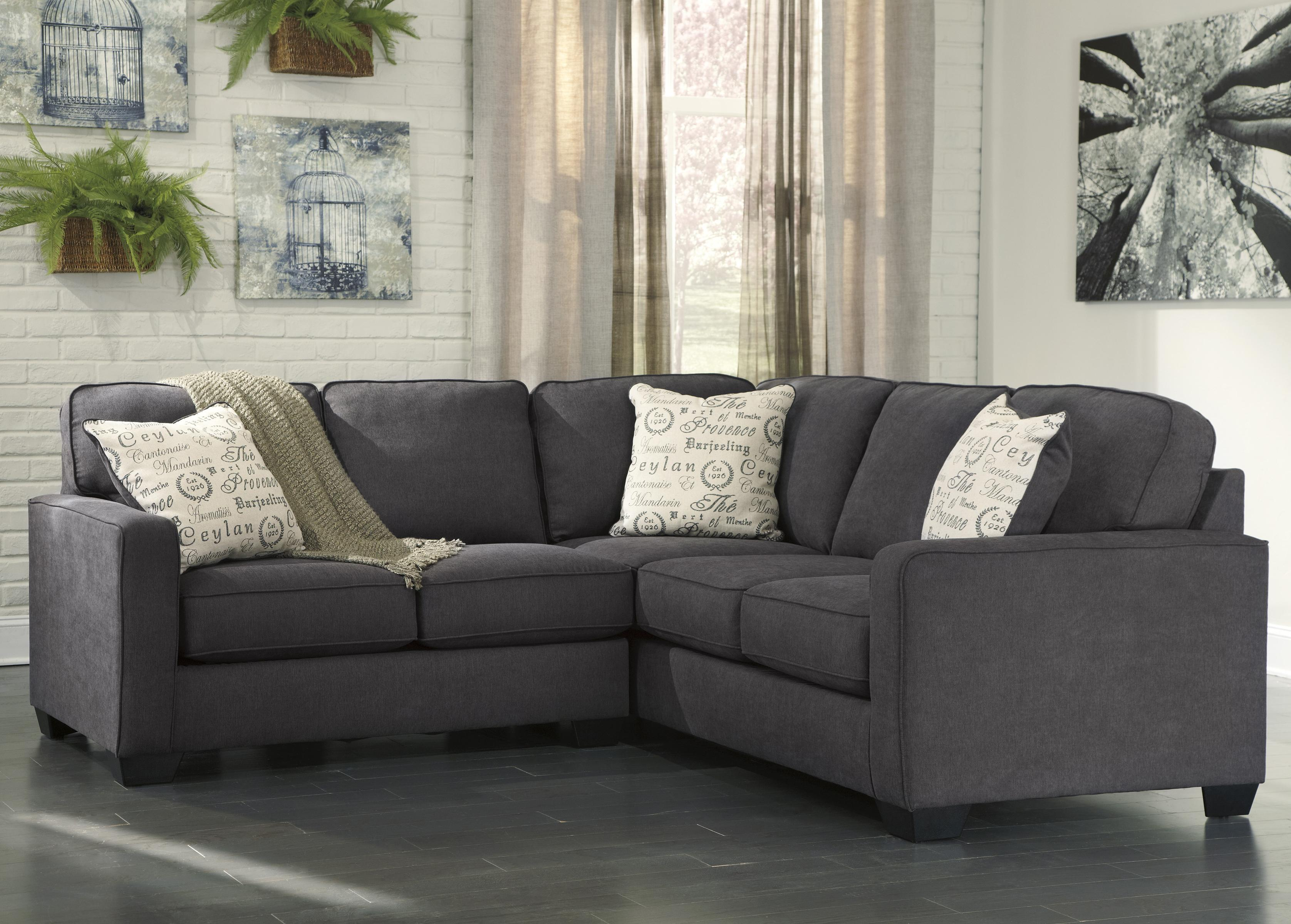 corin charcoal 2 piece sectional with left loveseat