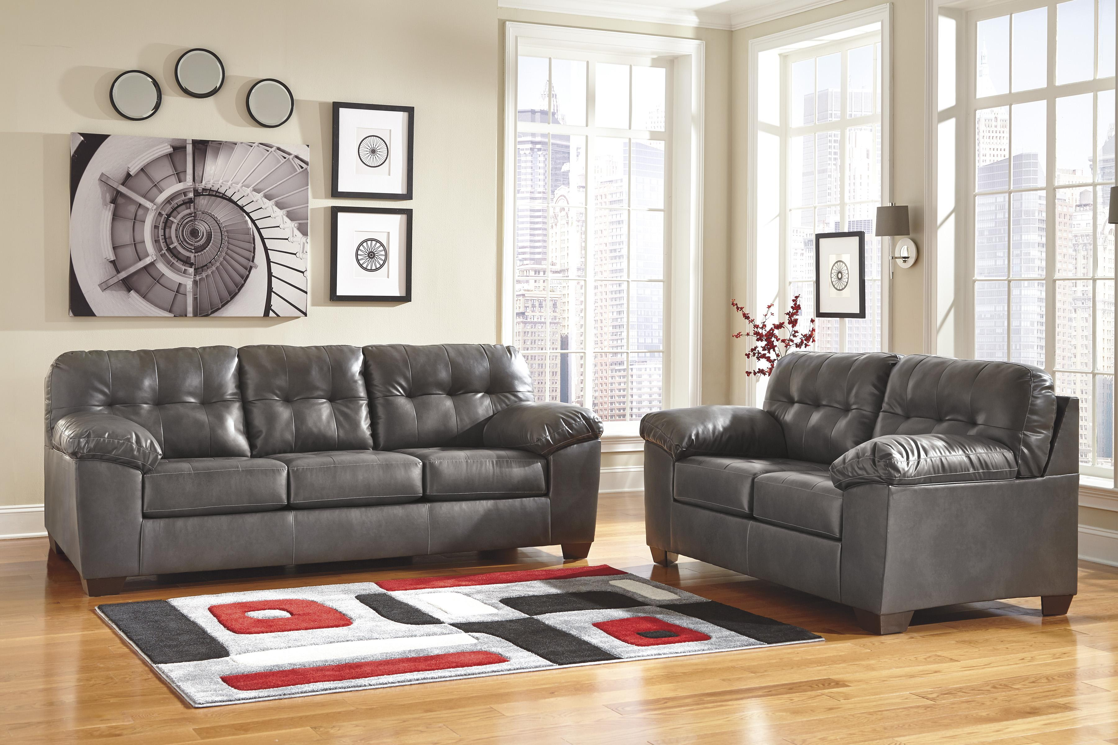 dark gray leather living room furniture wallpaper signature design by ashley alliston durablend stationary group