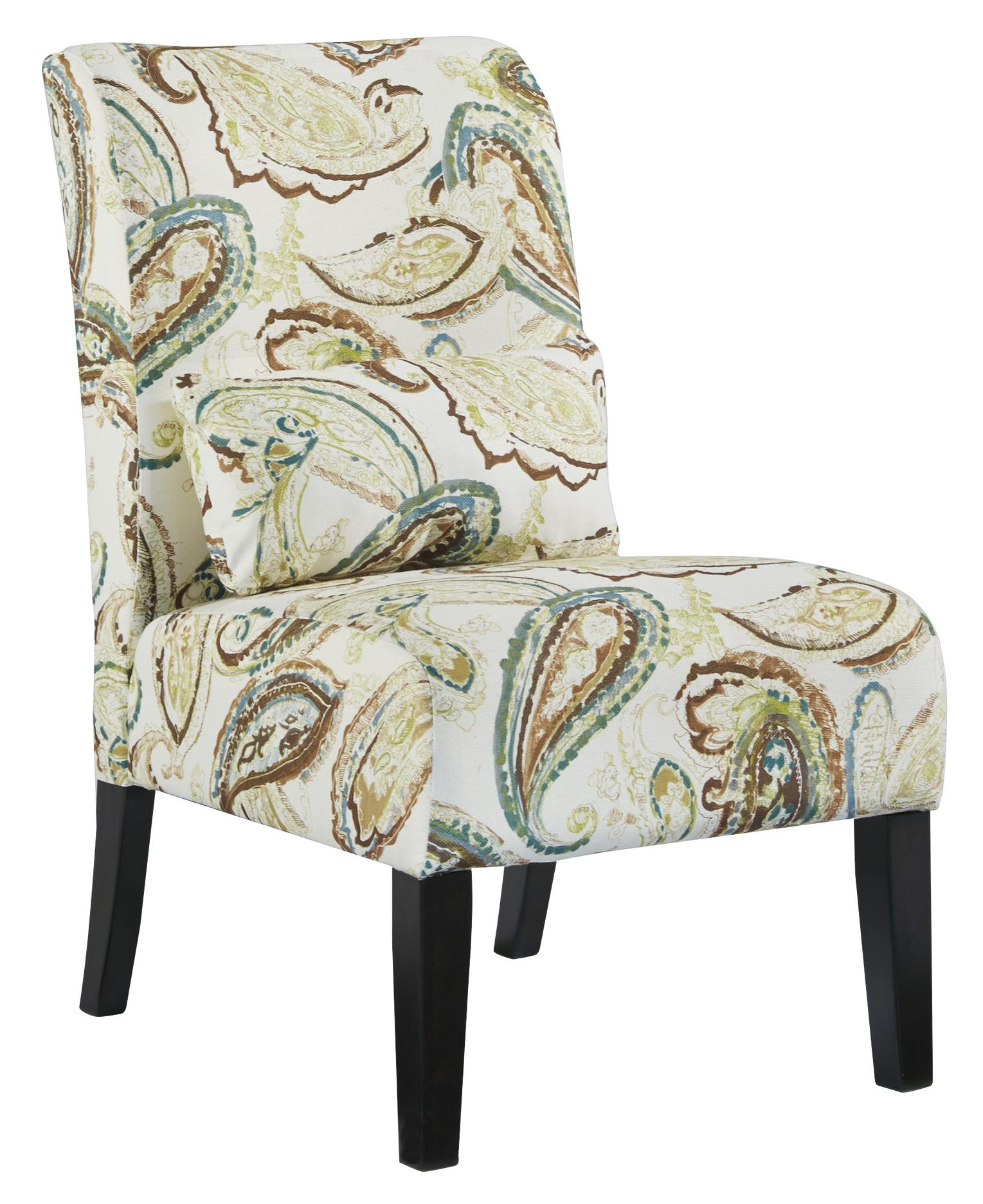 Paisley Chair Annora Paisley Transitional Armless Accent Chair With Pillow By Signature Design By Ashley At Household Furniture