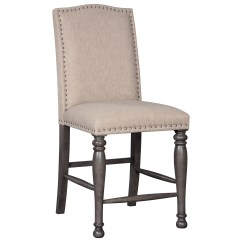 Upholstered Counter Height Chairs Dining Set Of 4 India Signature Design By Ashley Audberry D637 124 Transitional Barstool With Nailhead Trim