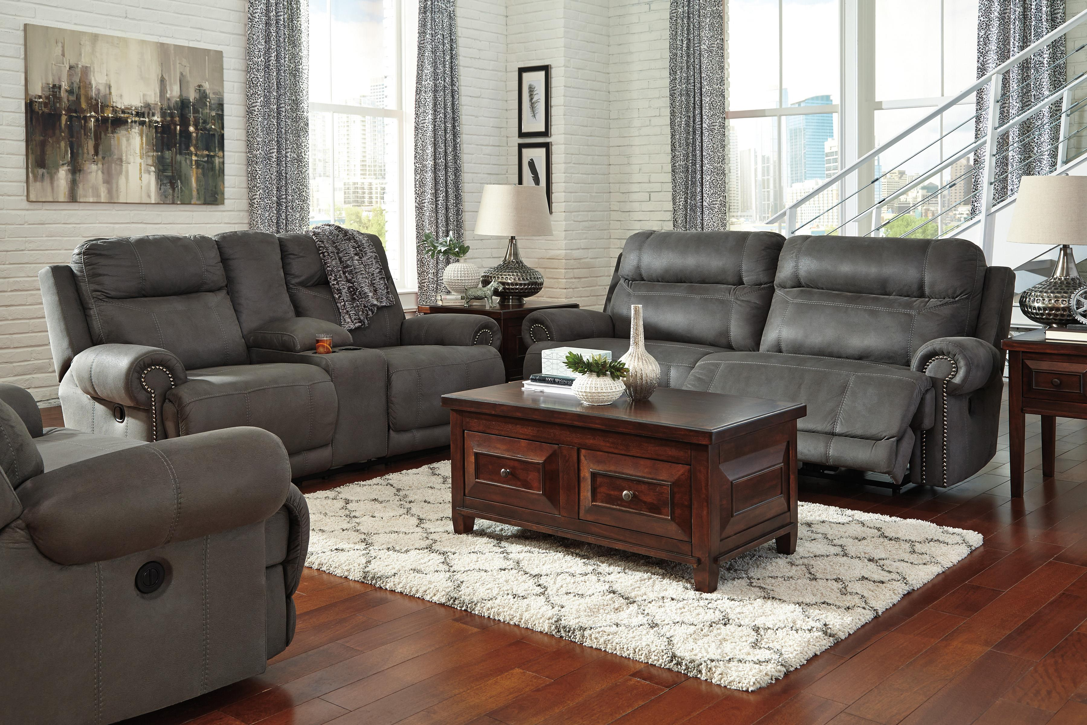 ashley living room wood furniture philippines signature design by austere gray reclining group
