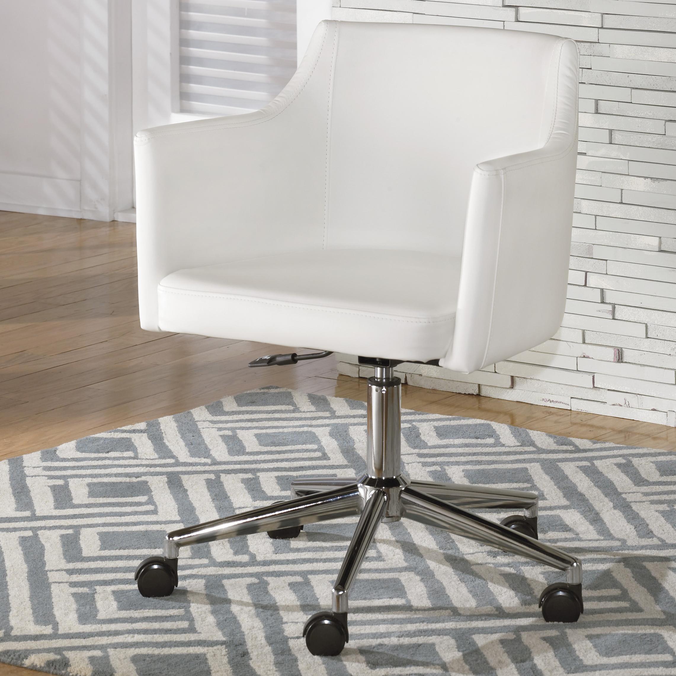 swivel chair office warehouse vinyl repair kit signature design by ashley baraga white home desk