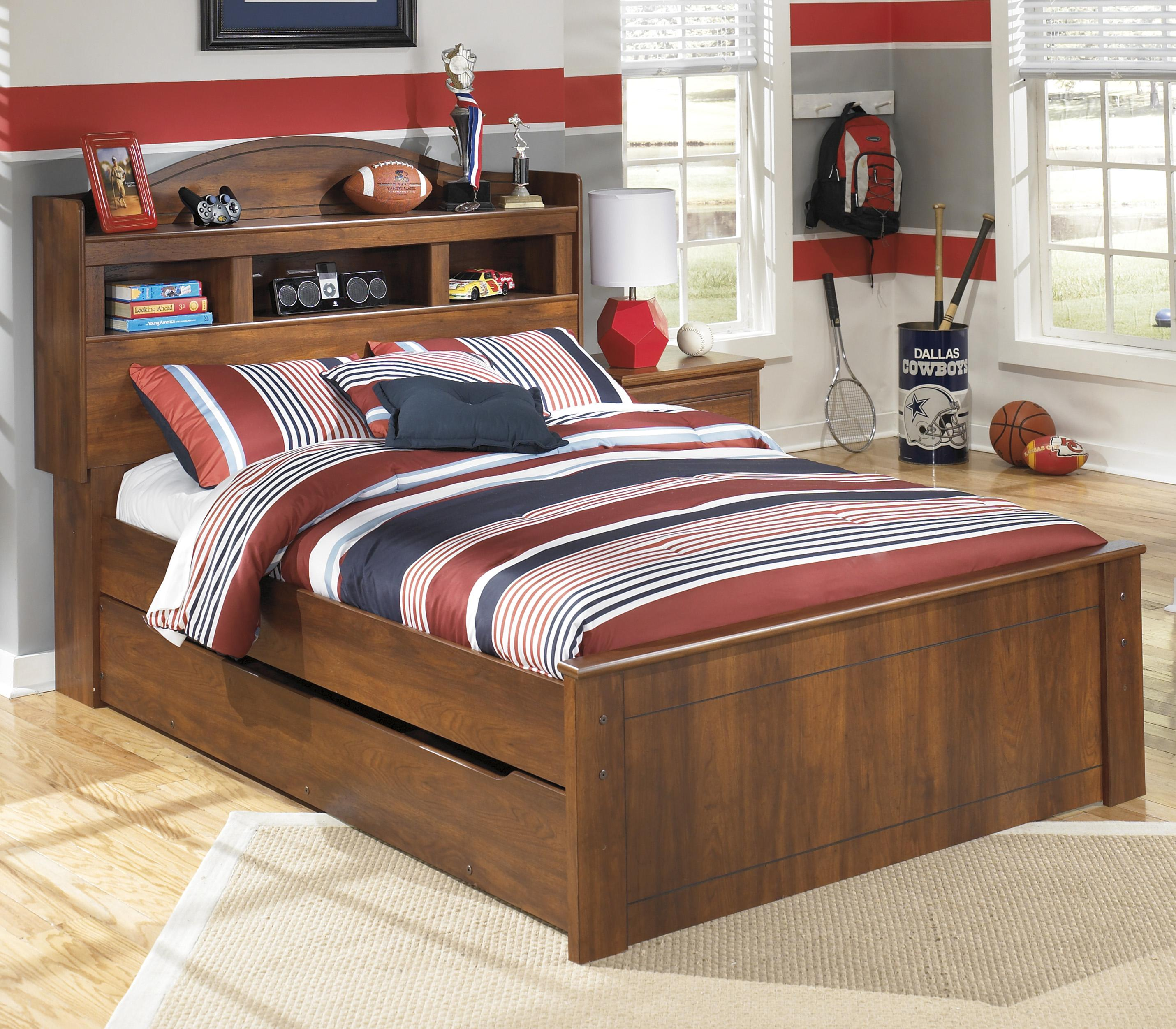 Barchan Full Bookcase Bed With Trundle Storage Unit