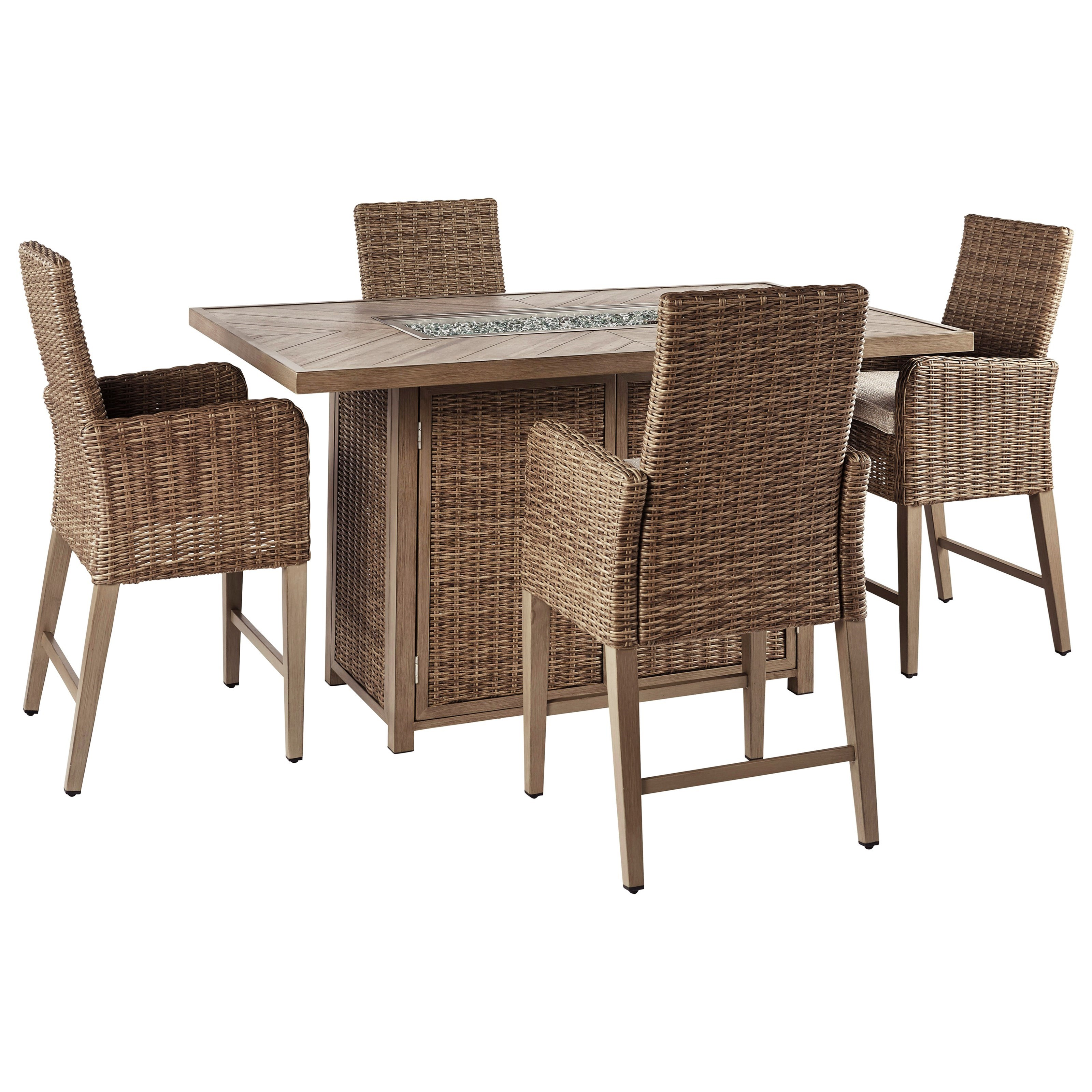 5 piece outdoor bar fire pit table set