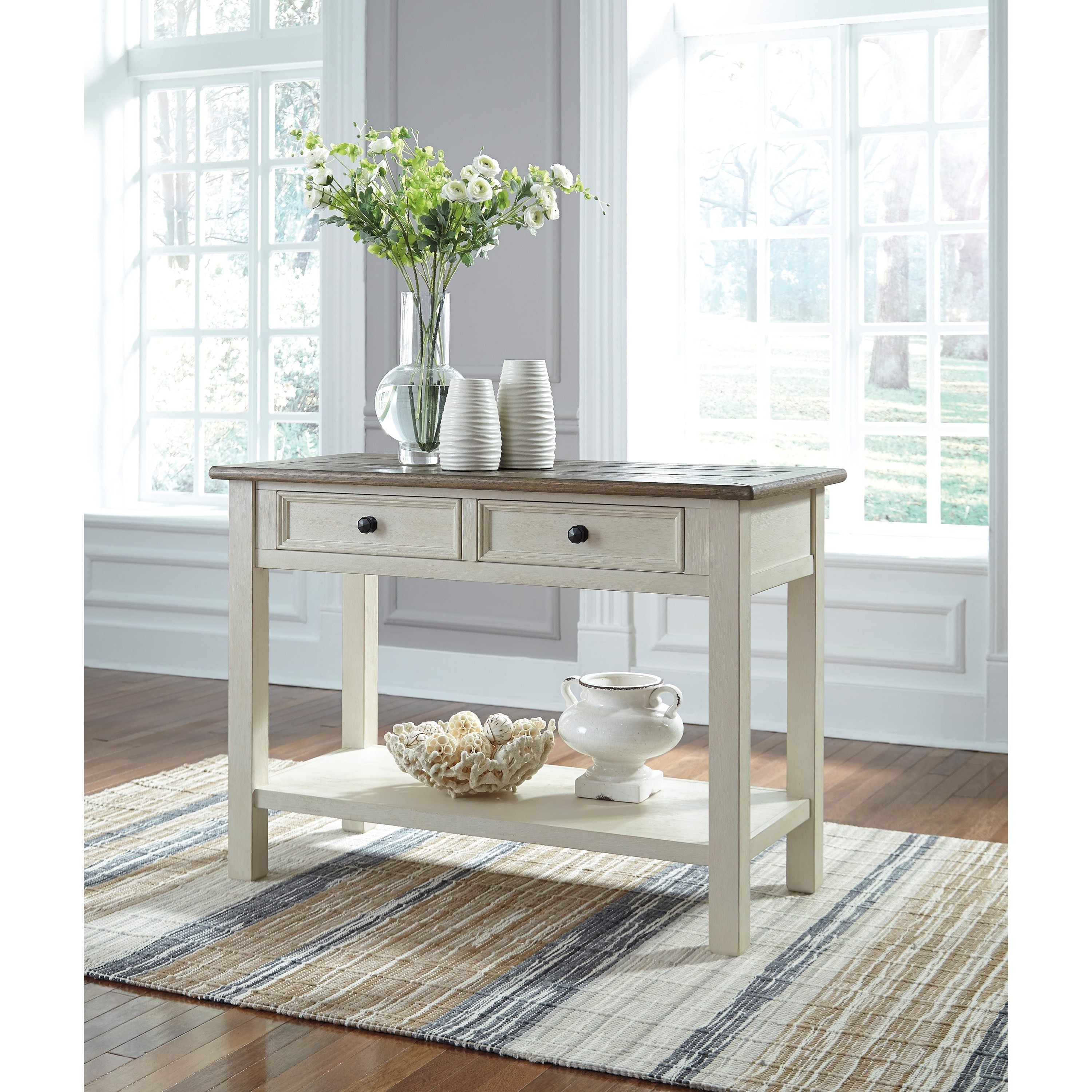 Signature Design By Ashley Bolanburg Sofa Table With 2