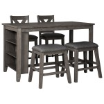 Signature Design By Ashley Caitbrook Five Piece Kitchen Island Chair Set With Adjustable Storage A1 Furniture Mattress Pub Table And Stool Sets