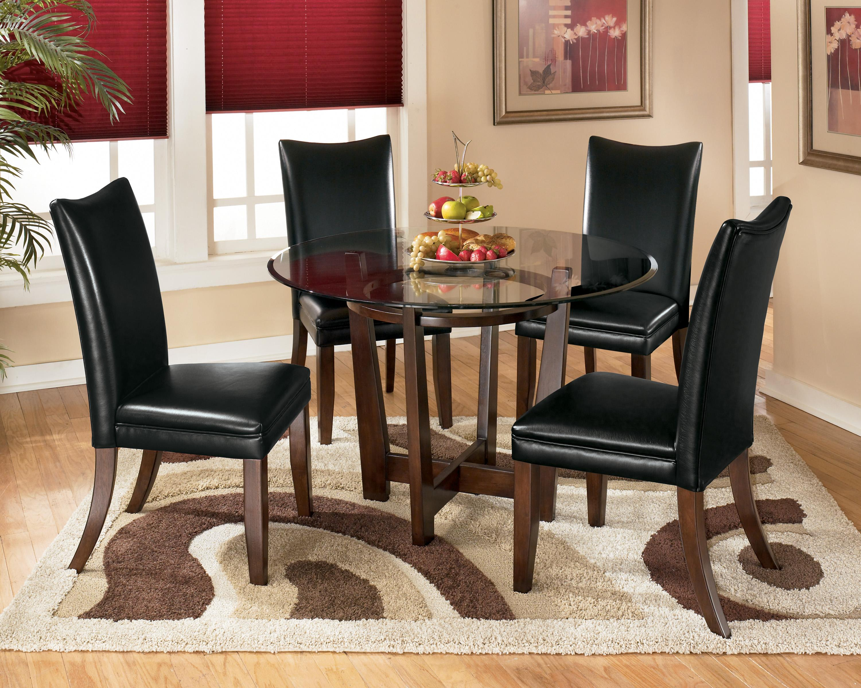 round living room set wood table lamps charrell 5 piece dining with black chairs by ashley signature design at dunk bright furniture