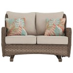 Signature Design By Ashley Clear Ridge Resin Wicker Loveseat Glider W Cushion Value City Furniture Outdoor Loveseats