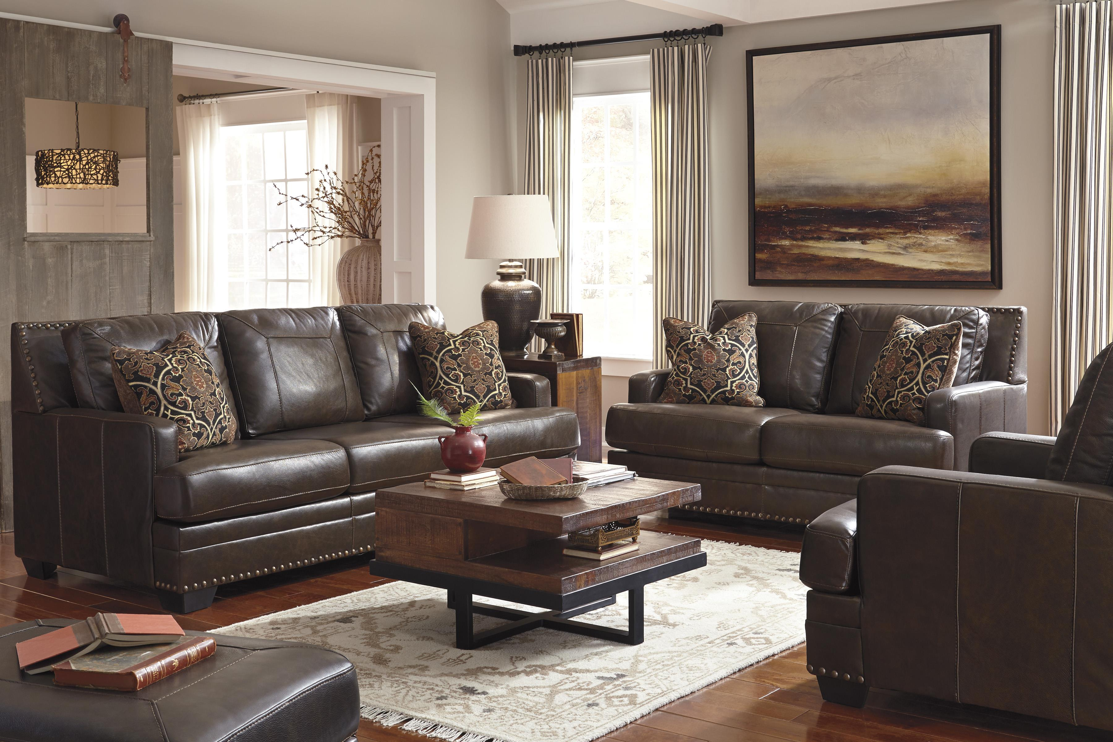 living room designs with brown sofas decorating ideas for small rooms on a budget signature design by ashley corvan stationary group item number 69103