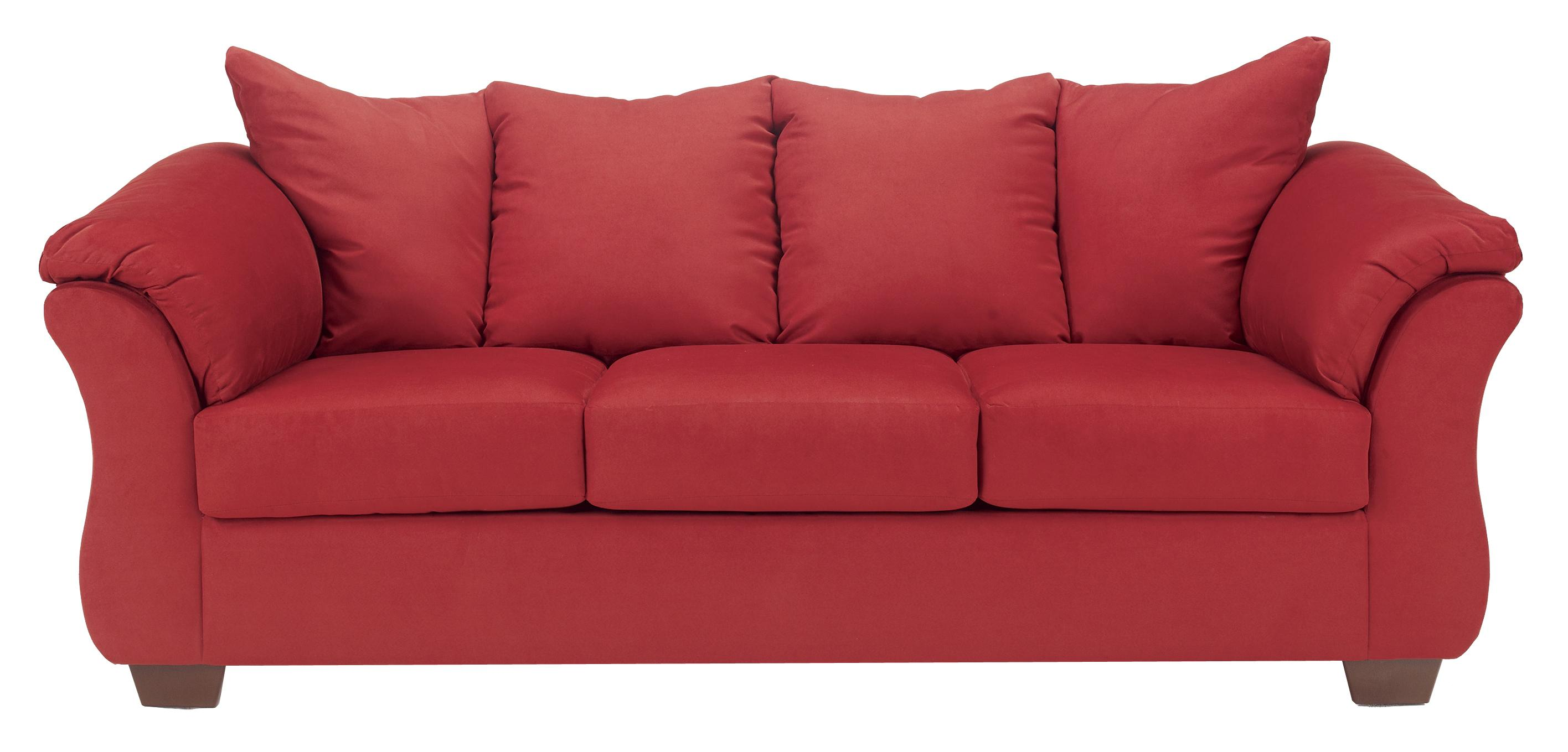 Signature Design By Ashley Darcy Salsa Contemporary Stationary Sofa With Flared Back Pillows