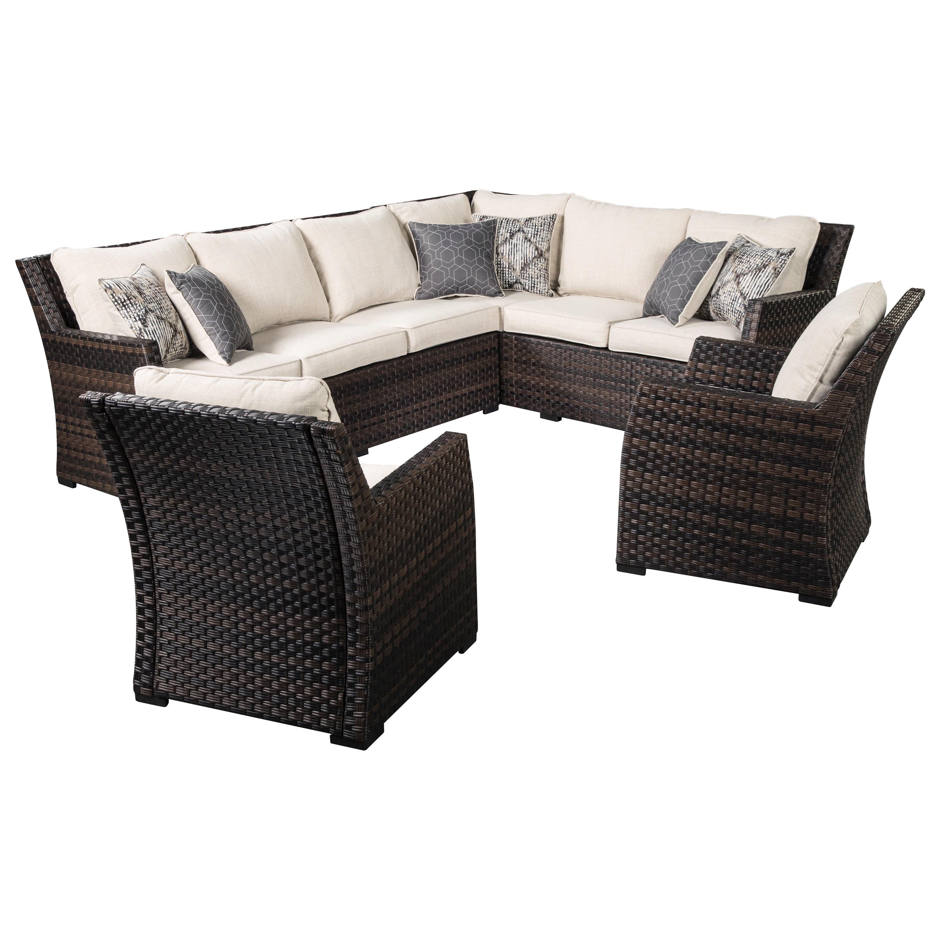 easy isle outdoor 2 piece sectional 2 lounge chairs