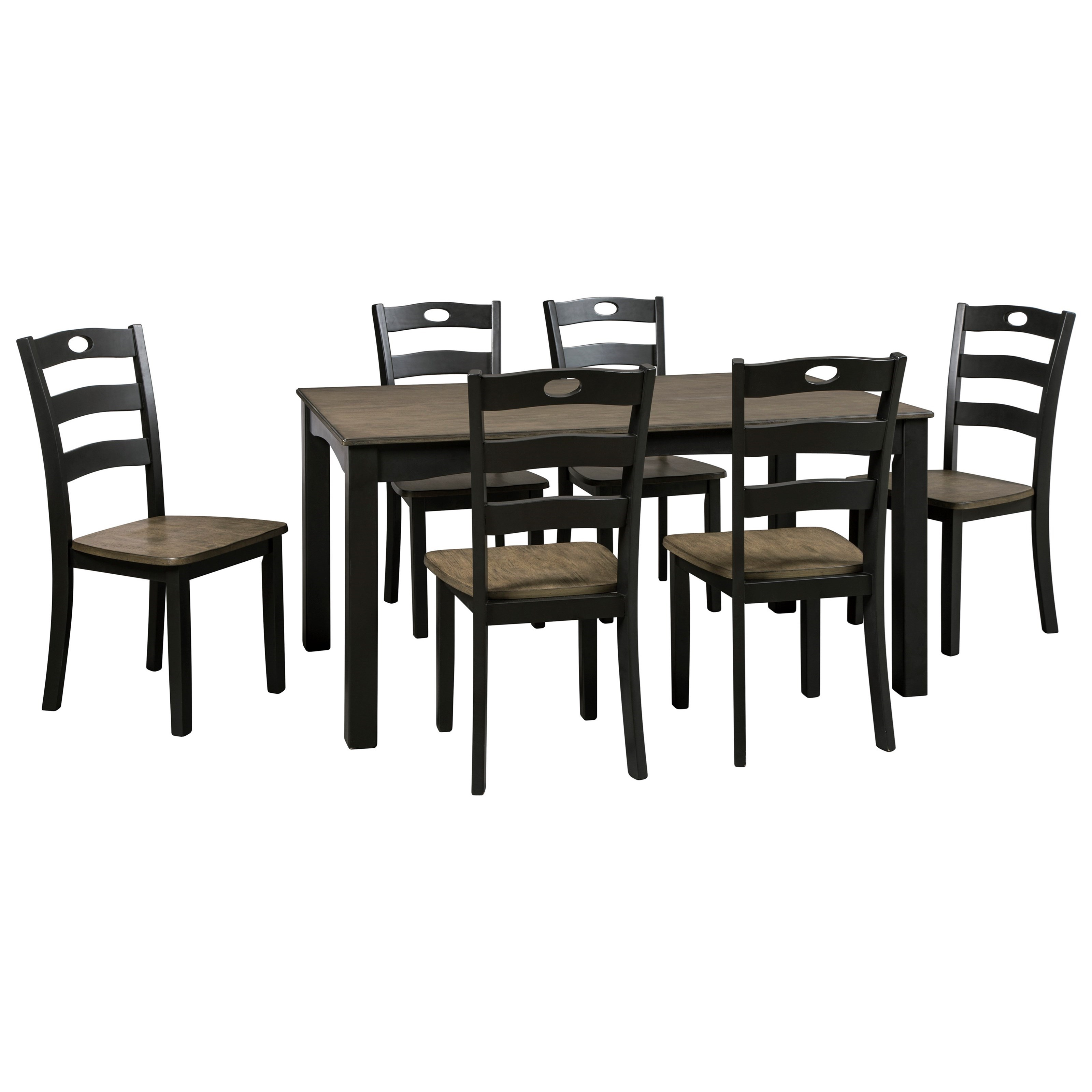 Black Dining Room Table And Chairs Froshburg Two Tone Finish 7 Piece Dining Room Table Set By Signature Design By Ashley At Northeast Factory Direct