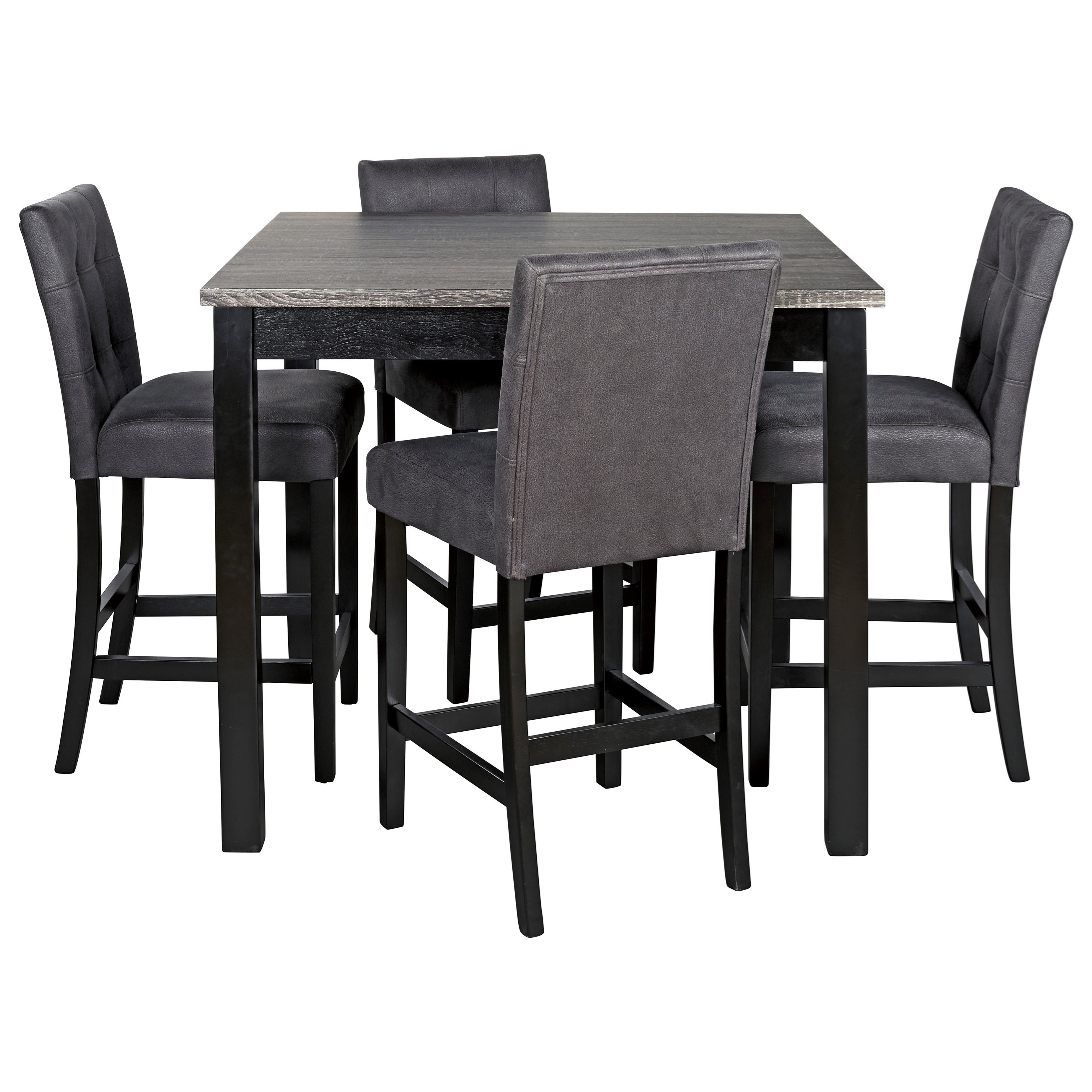 Ashley Signature Design Garvine D161 223 5 Piece Square Counter Height Dining Room Table Set With Bar Stools Dunk Bright Furniture Pub Table And Stool Sets