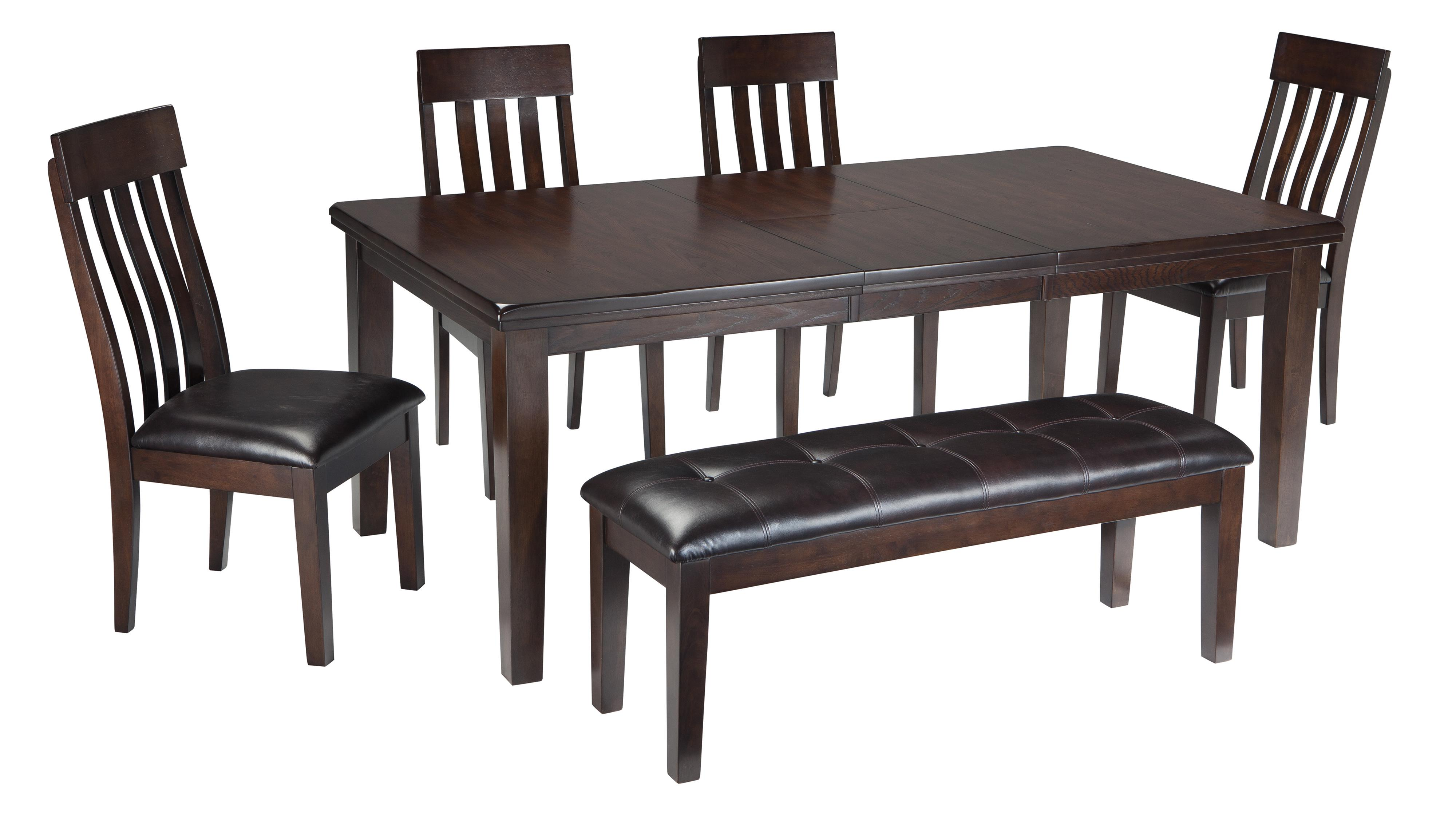 Ashley Chairs Haddigan 6 Piece Rectangular Dining Room Table W 4 Upholstered Dining Side Chairs And Upholstered Dining Bench Set By Signature Design By Ashley At