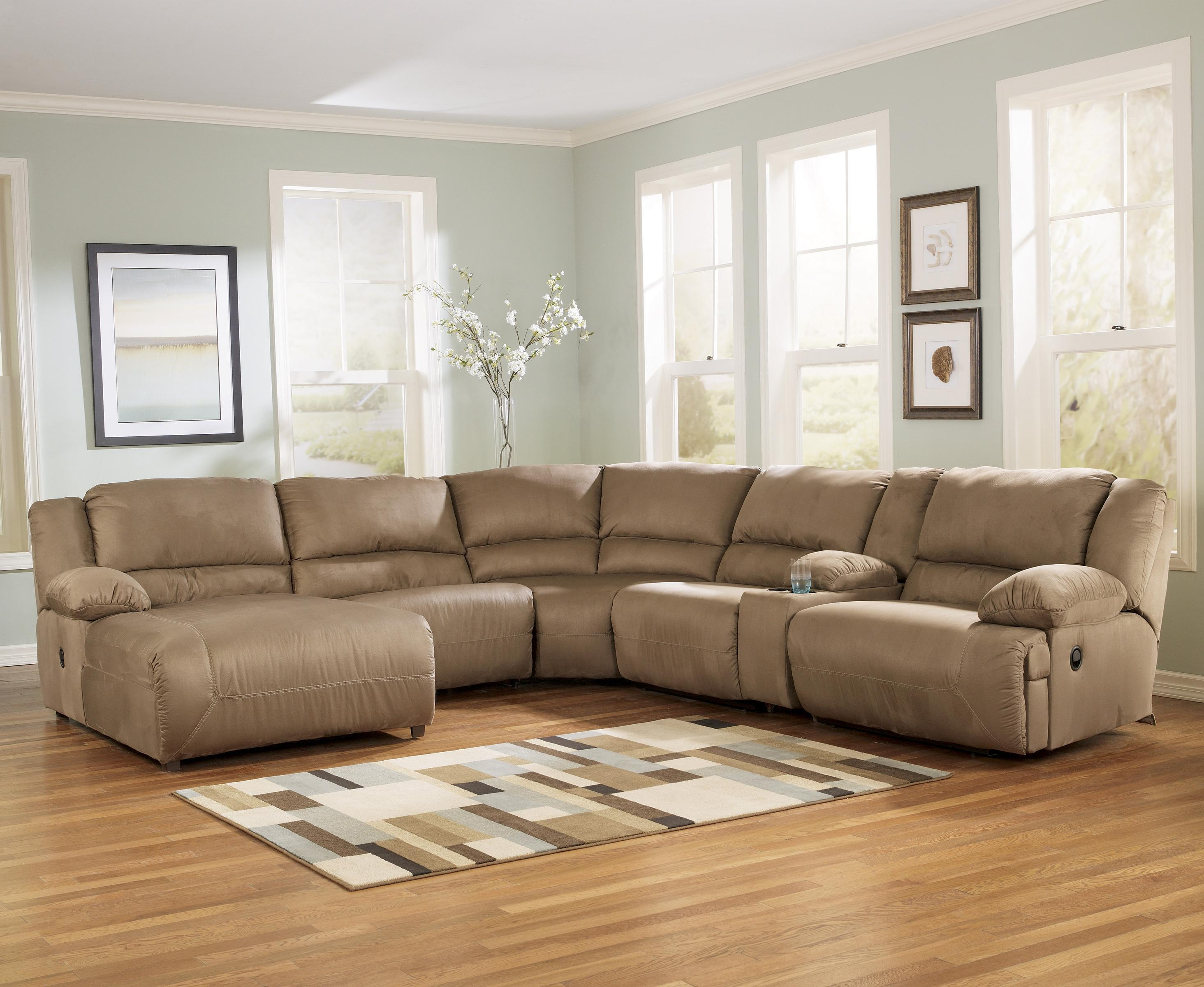 Signature Design By Ashley Hogan Mocha 6 Piece Motion Sectional With Left Chaise And Console