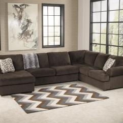 Ashley Living Room French Country Signature Design Jessa Place Chocolate Casual Sectional Sofa With Left Chaise