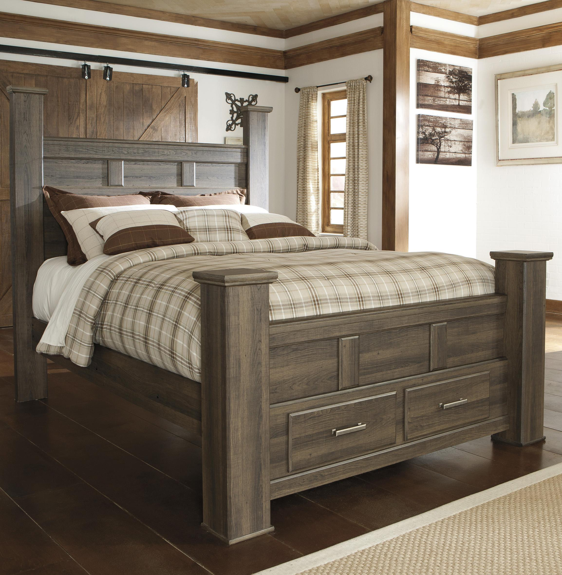 Ashley Furniture Signature Design Juararo Transitional Queen Poster Bed With Footboard Storage Del Sol Furniture Poster Beds