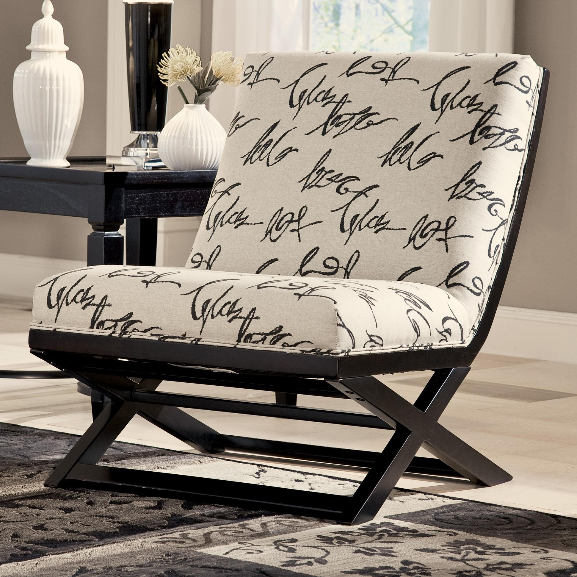 Rocking Accent Chairs Levon Charcoal Armless Showood Accent Chair With Abstract Script Fabric By Signature Design By Ashley At John V Schultz Furniture