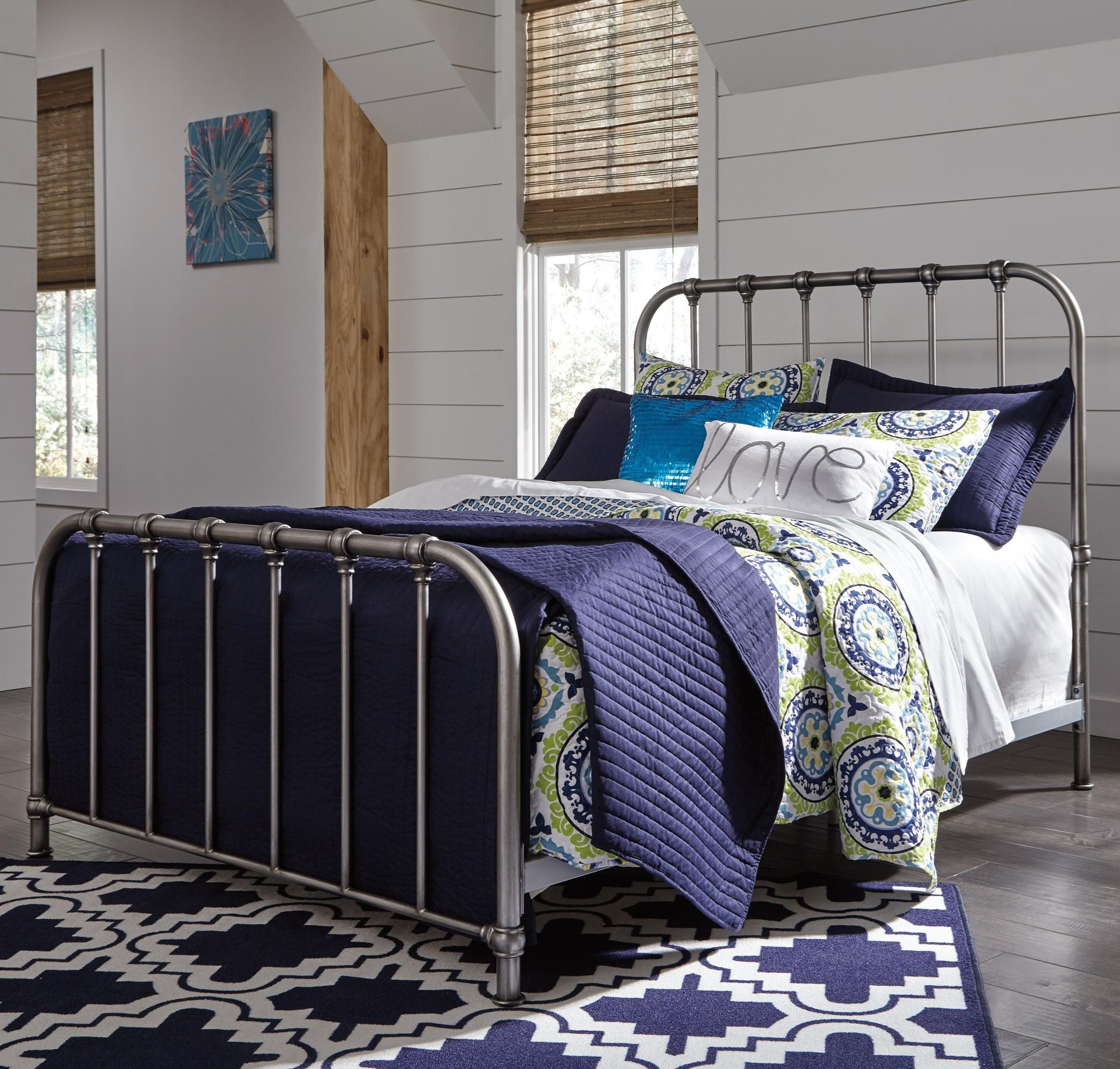 Signature Design By Ashley Nashburg Twin Metal Bed In Aged